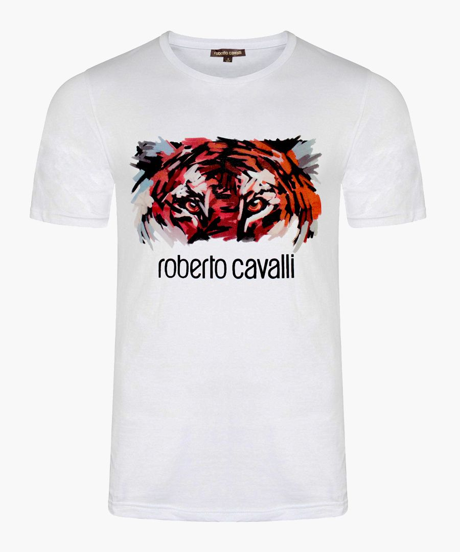 White pure cotton tiger graphic T-shirt