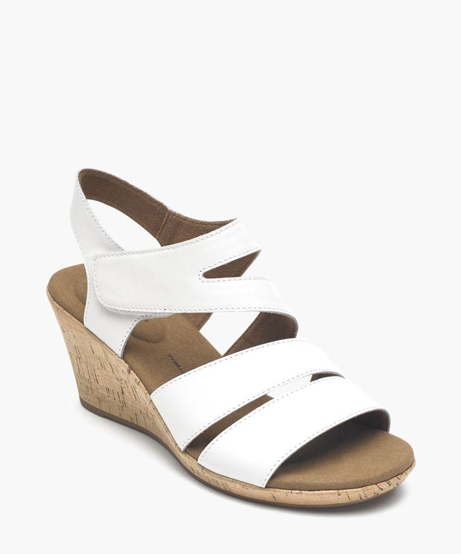 Briah white & tan leather sandals