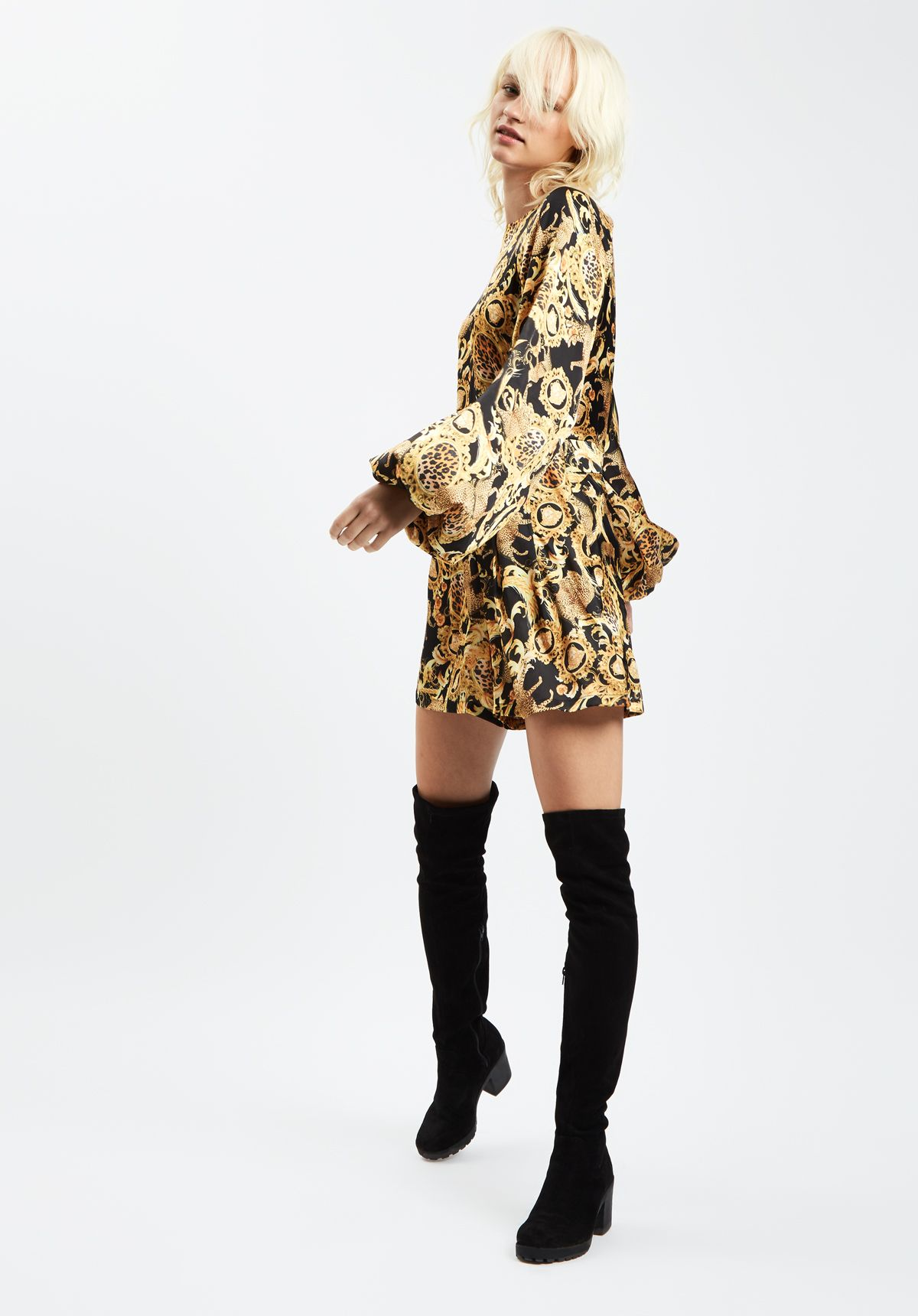 Bambi Printed Long Sleeve Playsuit in Black and Gold