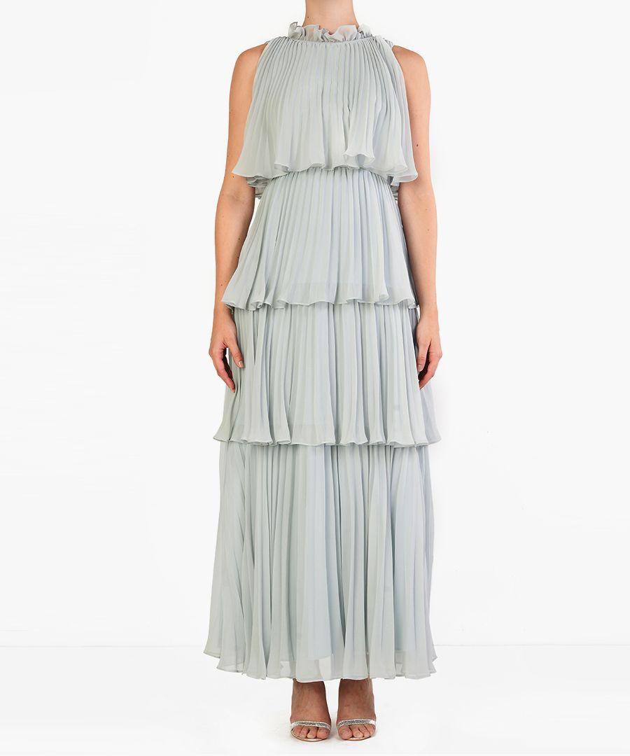 Pale peach tiered maxi dress