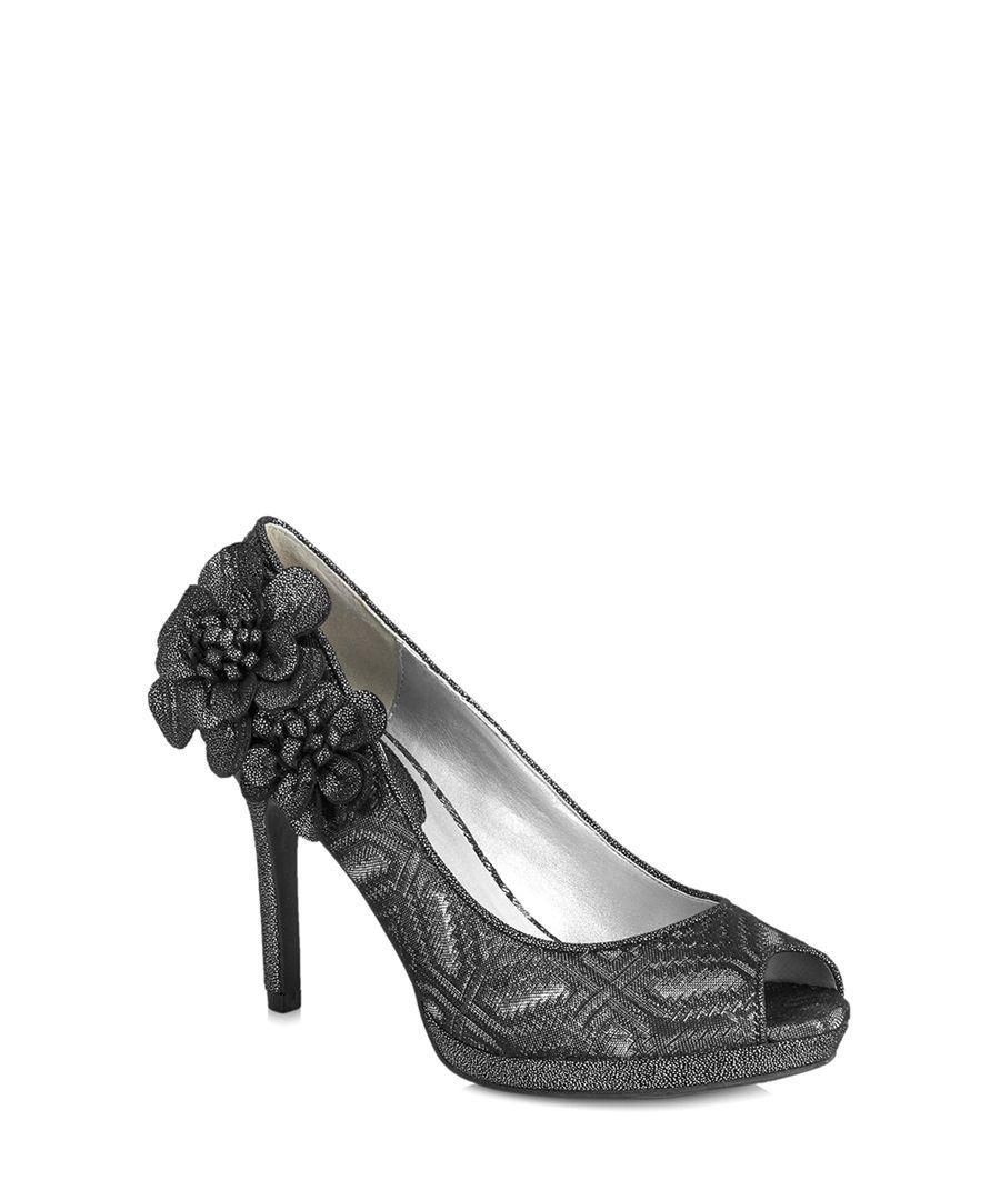 Donna pewter geometric peep toe heels