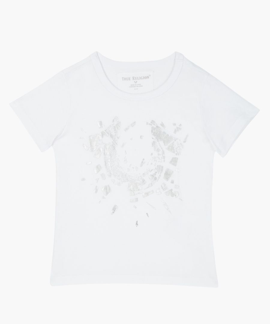 Boys Shattered white pure cotton T-shirt
