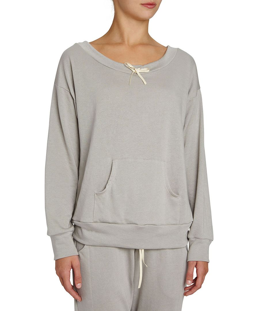 Walker warm grey supima cotton-blend  long sleeve top