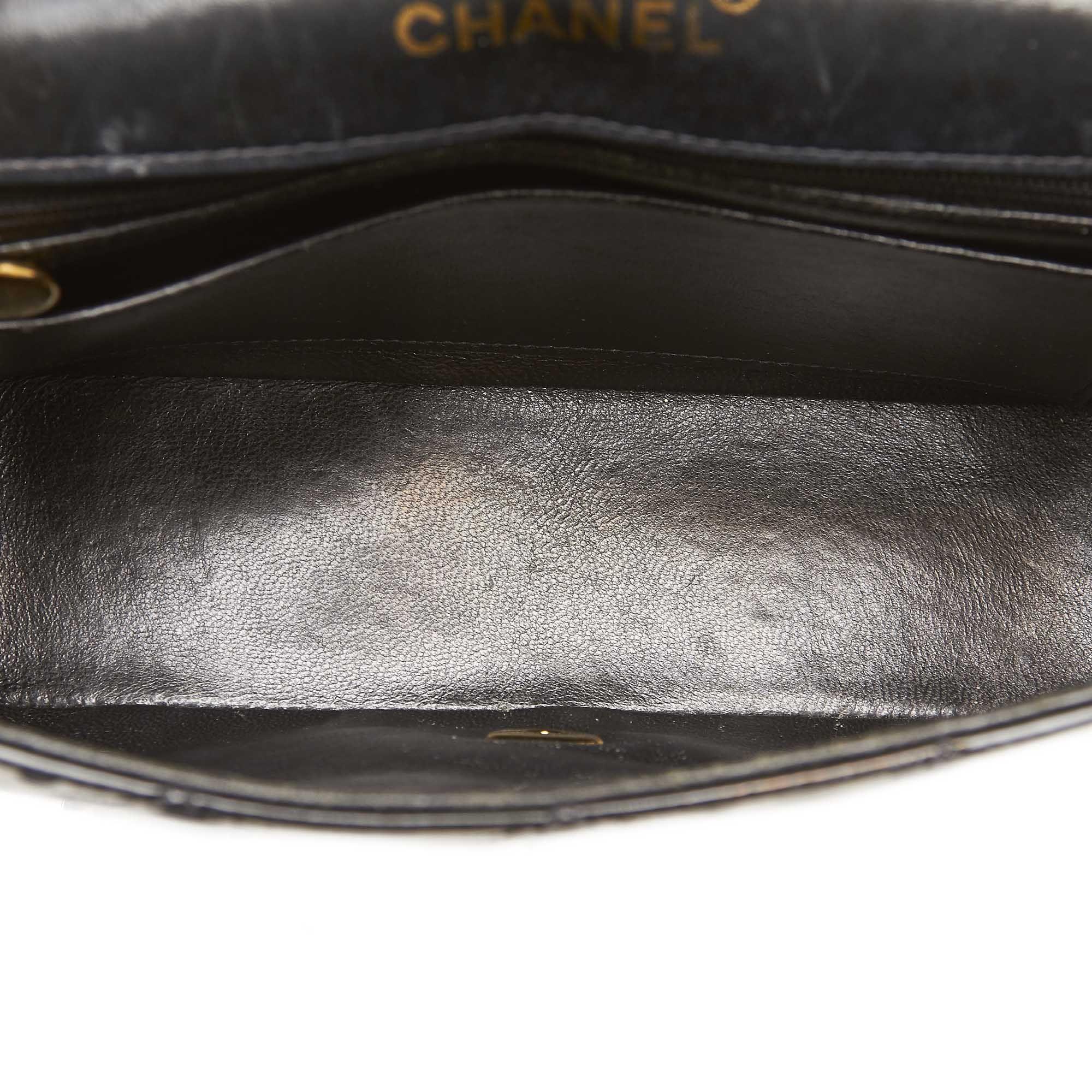 Vintage Chanel Patent Leather Diana Flap Shoulder Bag Black