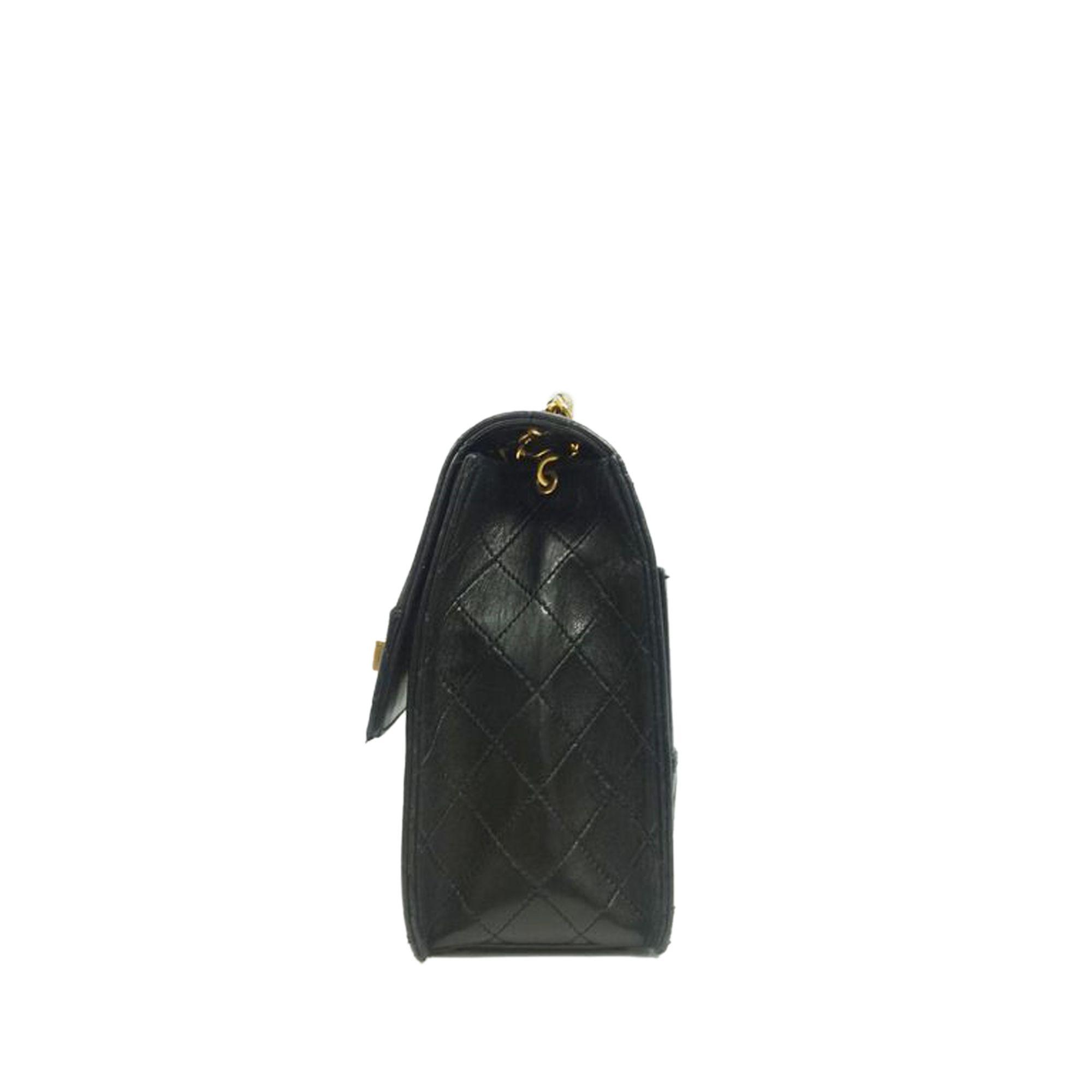 Vintage Chanel Lambskin Leather Shoulder Bag Black