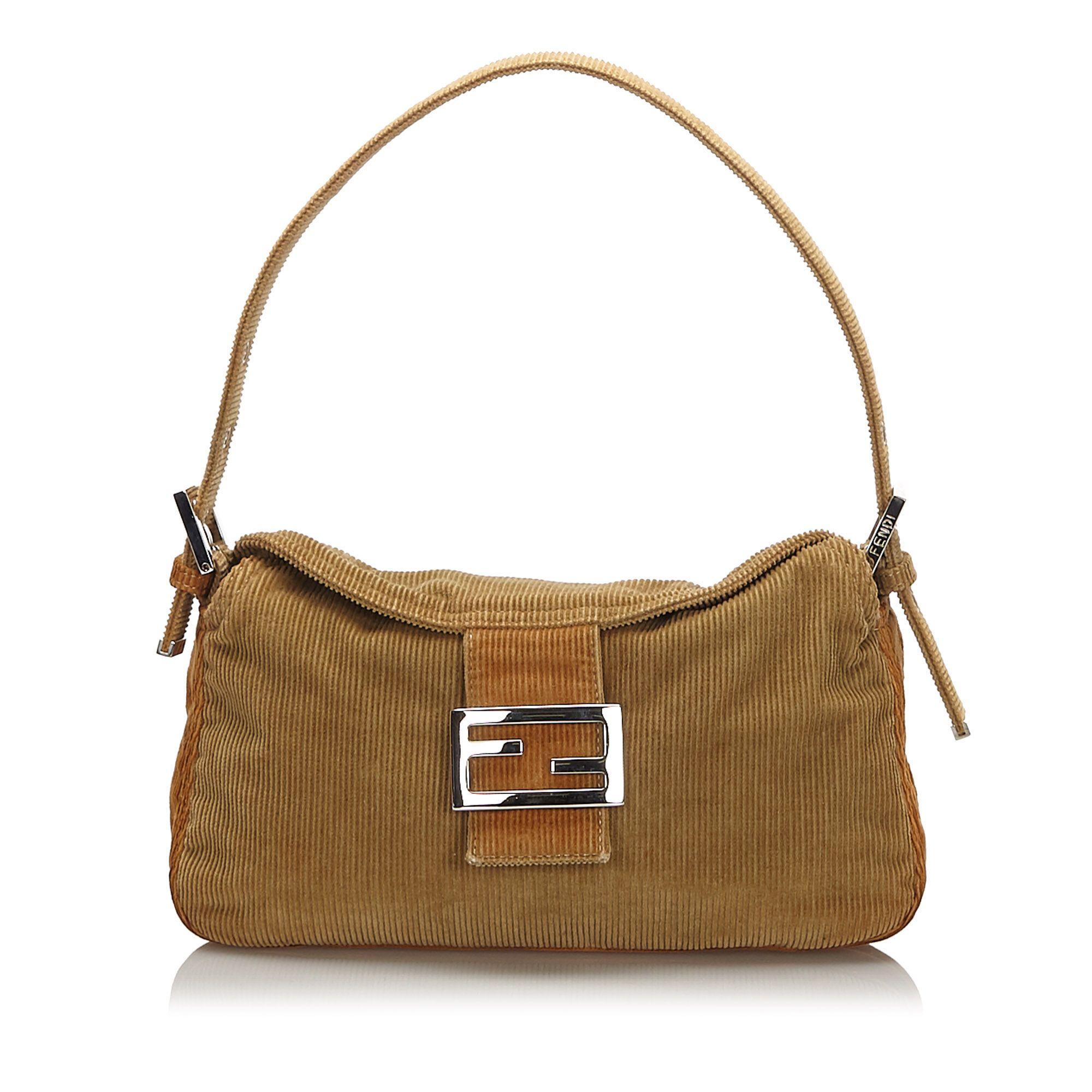 Vintage Fendi Corduroy Shoulder Bag Brown