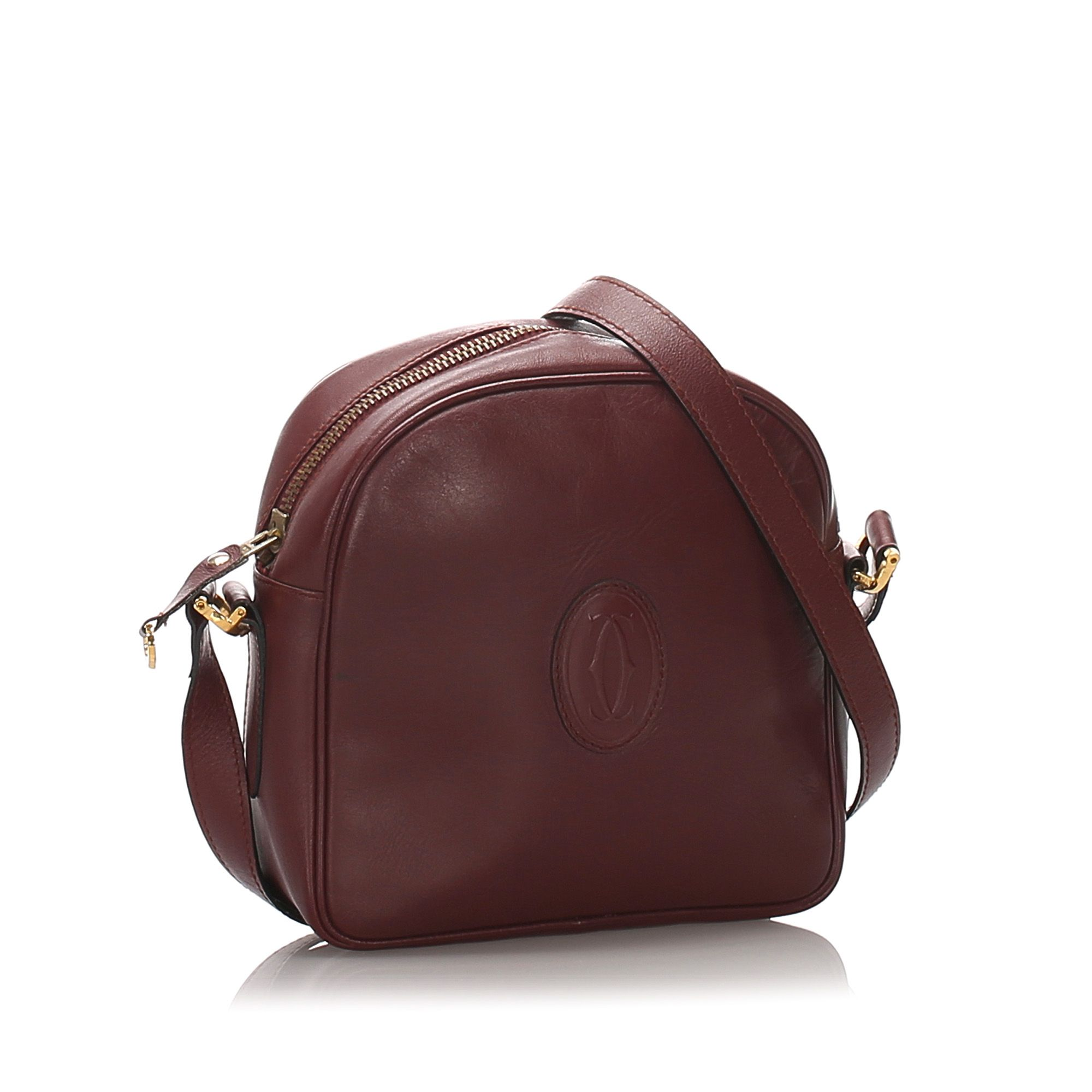 Vintage Cartier Leather Must de Cartier Crossbody Bag Red
