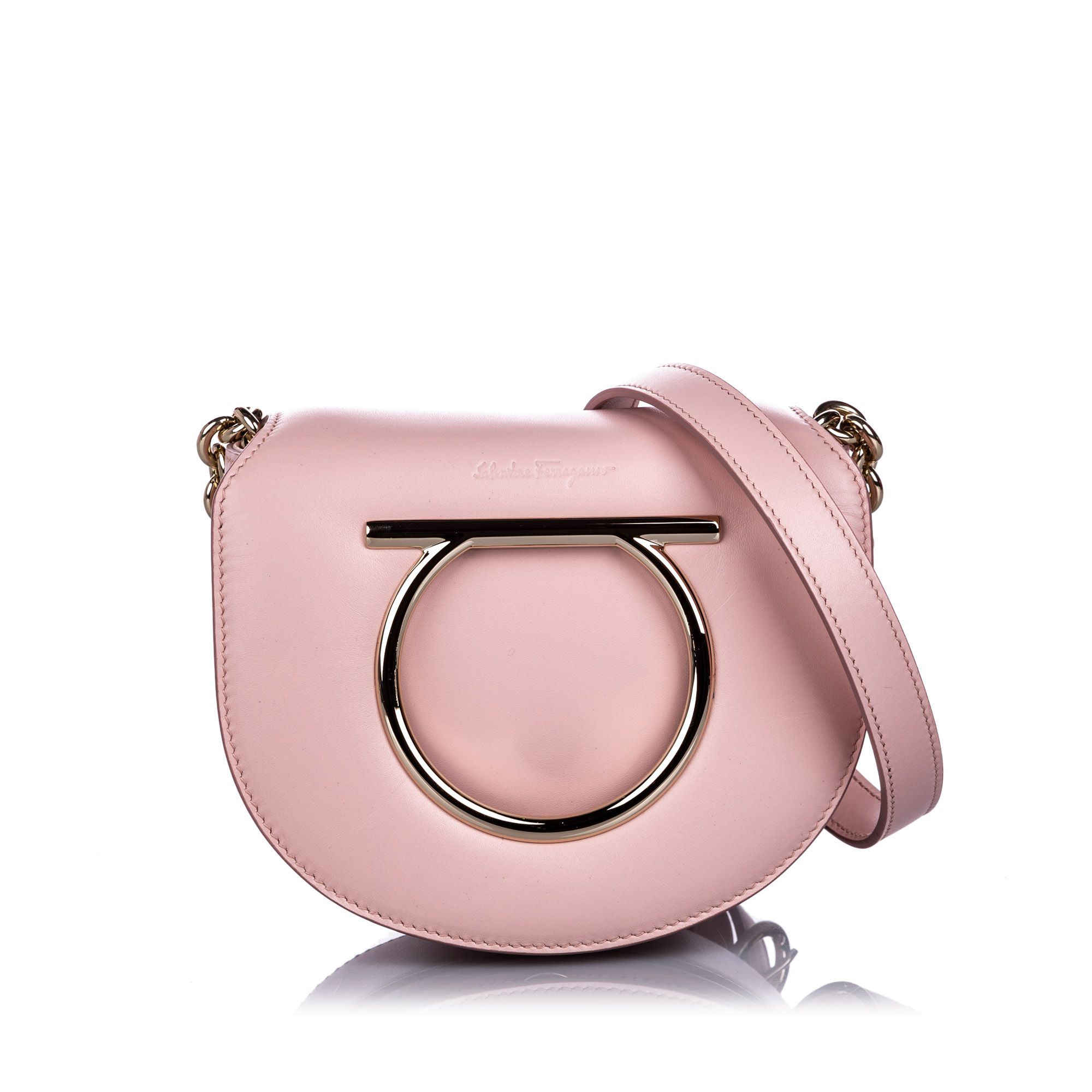 Vintage Ferragamo Calfskin Gancini Flap Bag Pink