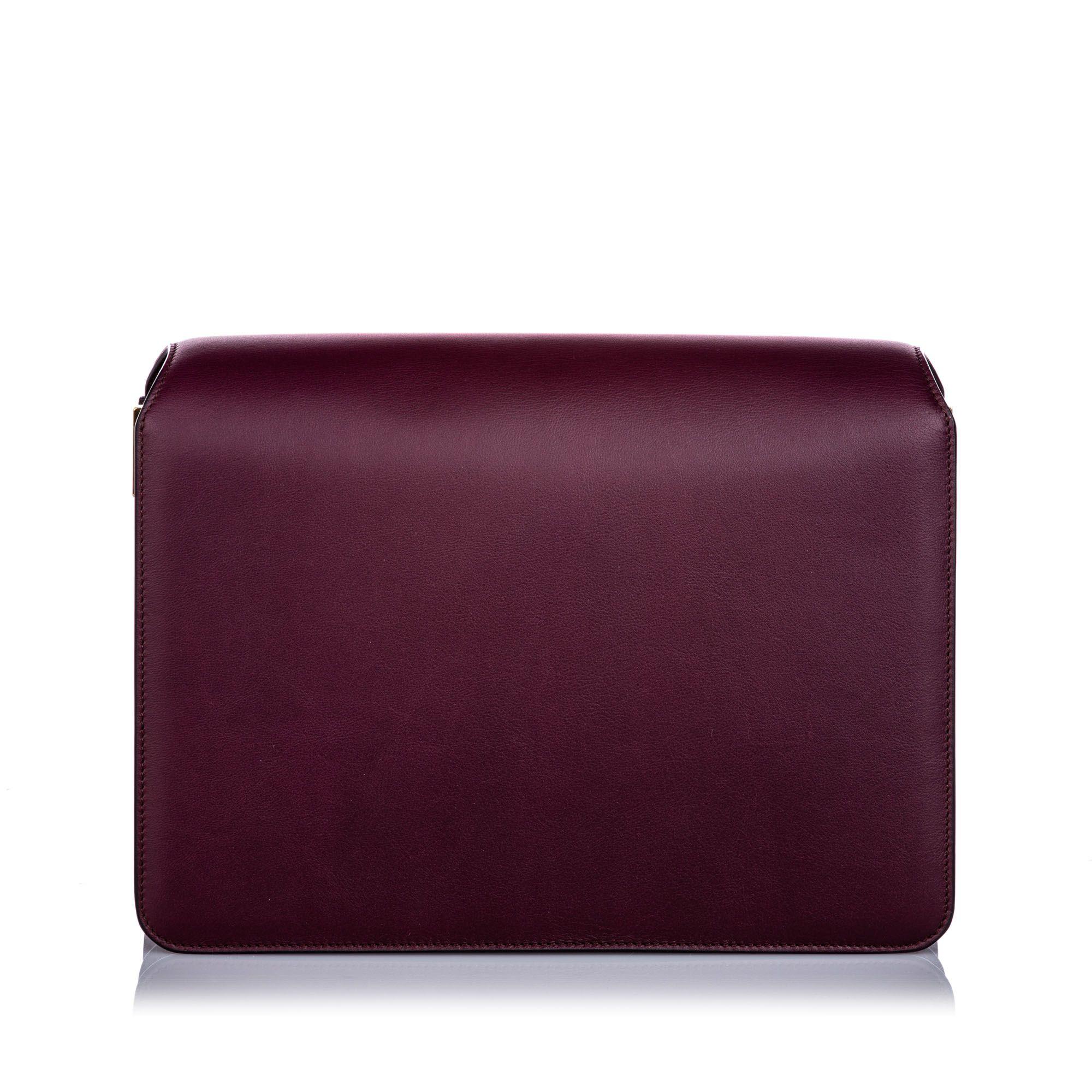 Vintage Ferragamo Calfskin Gancini Flap Bag Red