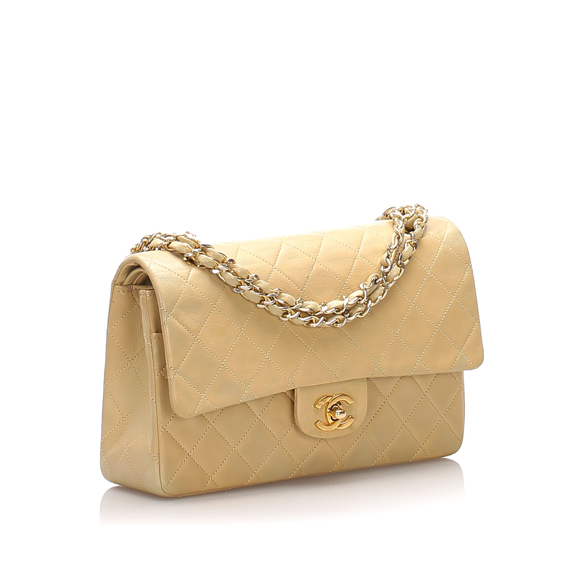 Vintage Chanel Classic Medium Lambskin Double Flap Bag Brown