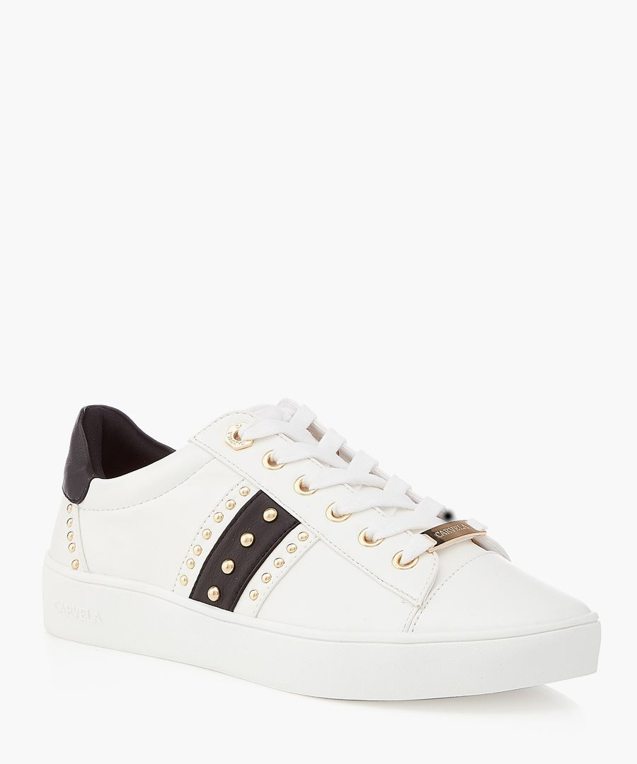 White & black studded sneakers