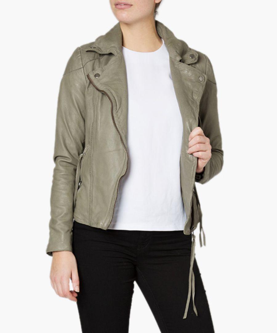 Meggie grey leather biker jacket
