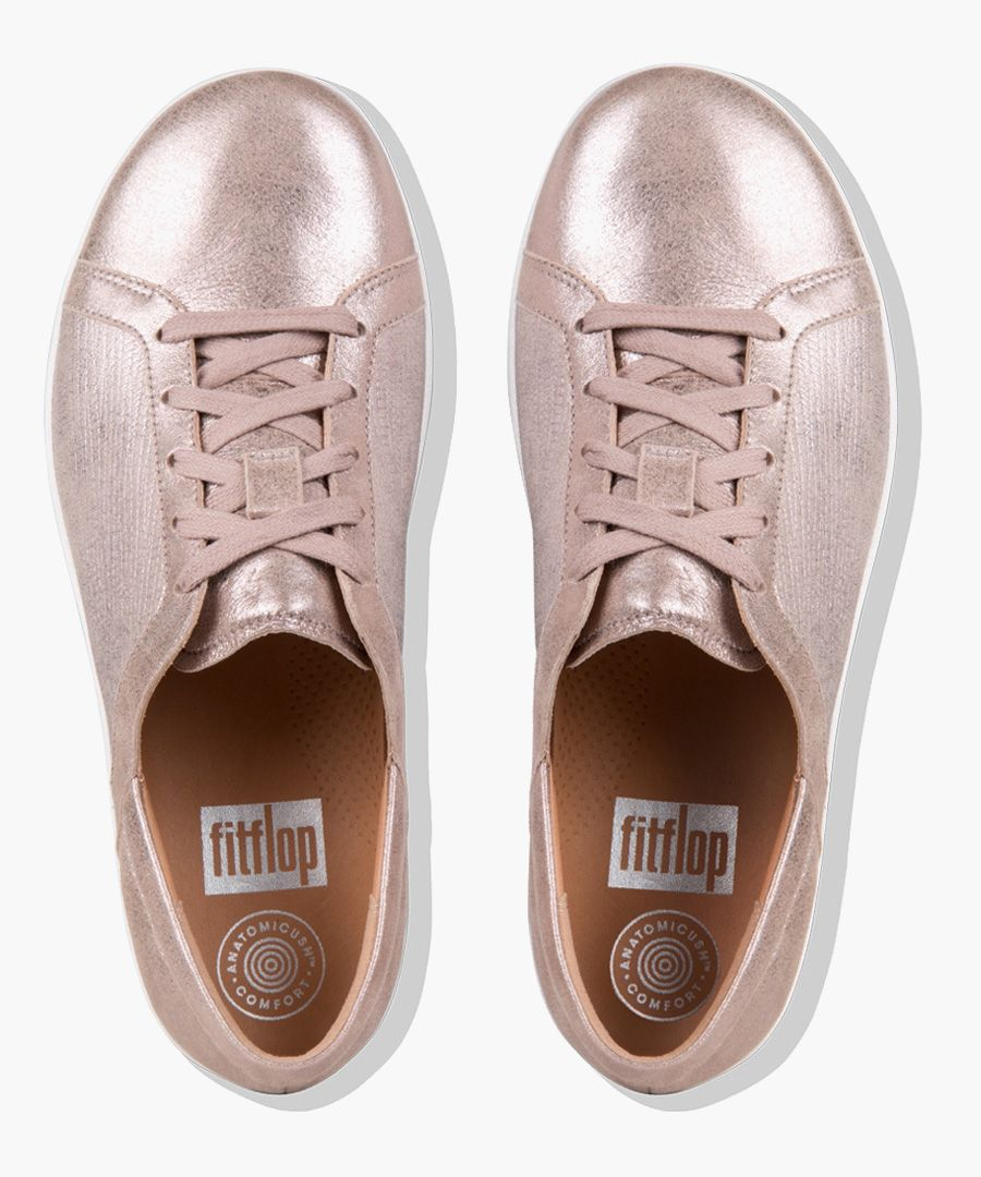 Taupe textured metallic trainers