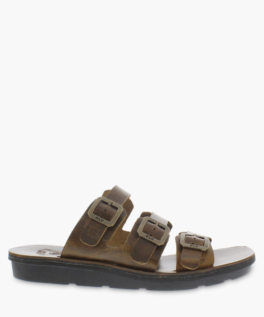 brown leather buckle sandals