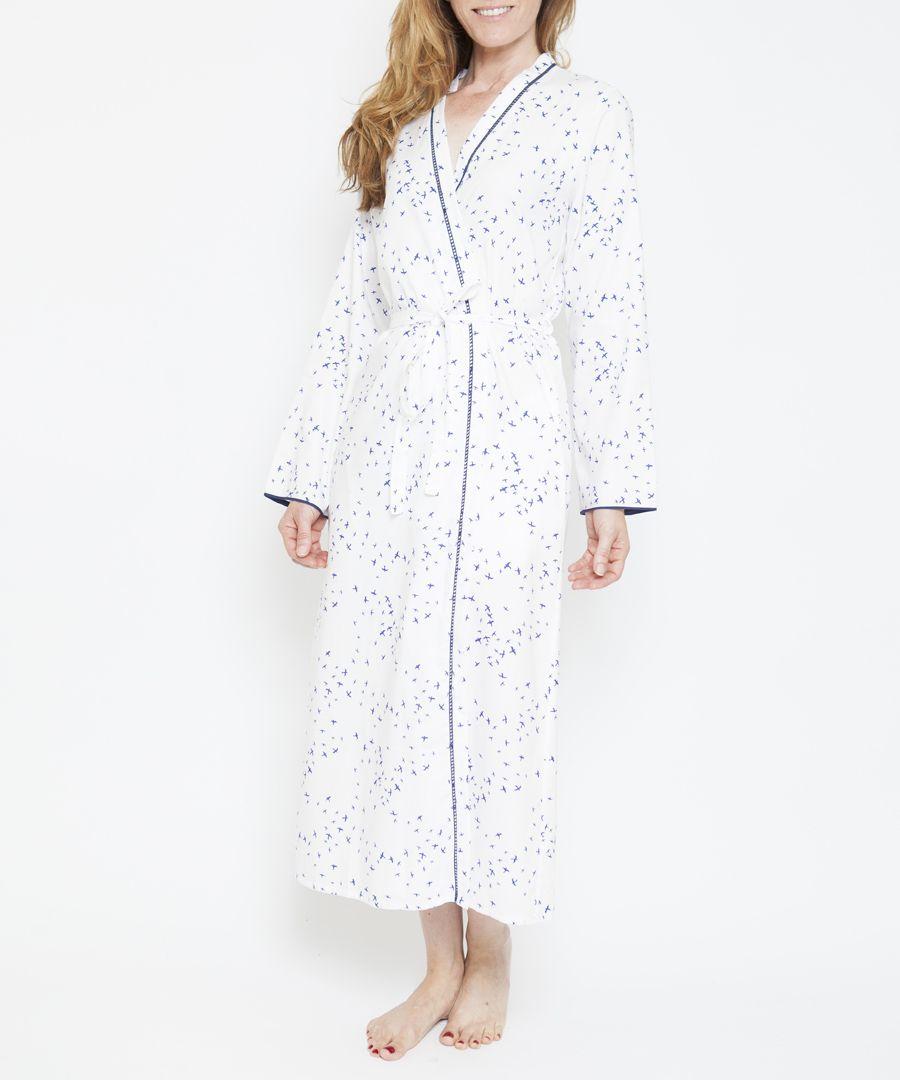 Adele white cotton-blend bird print kimono
