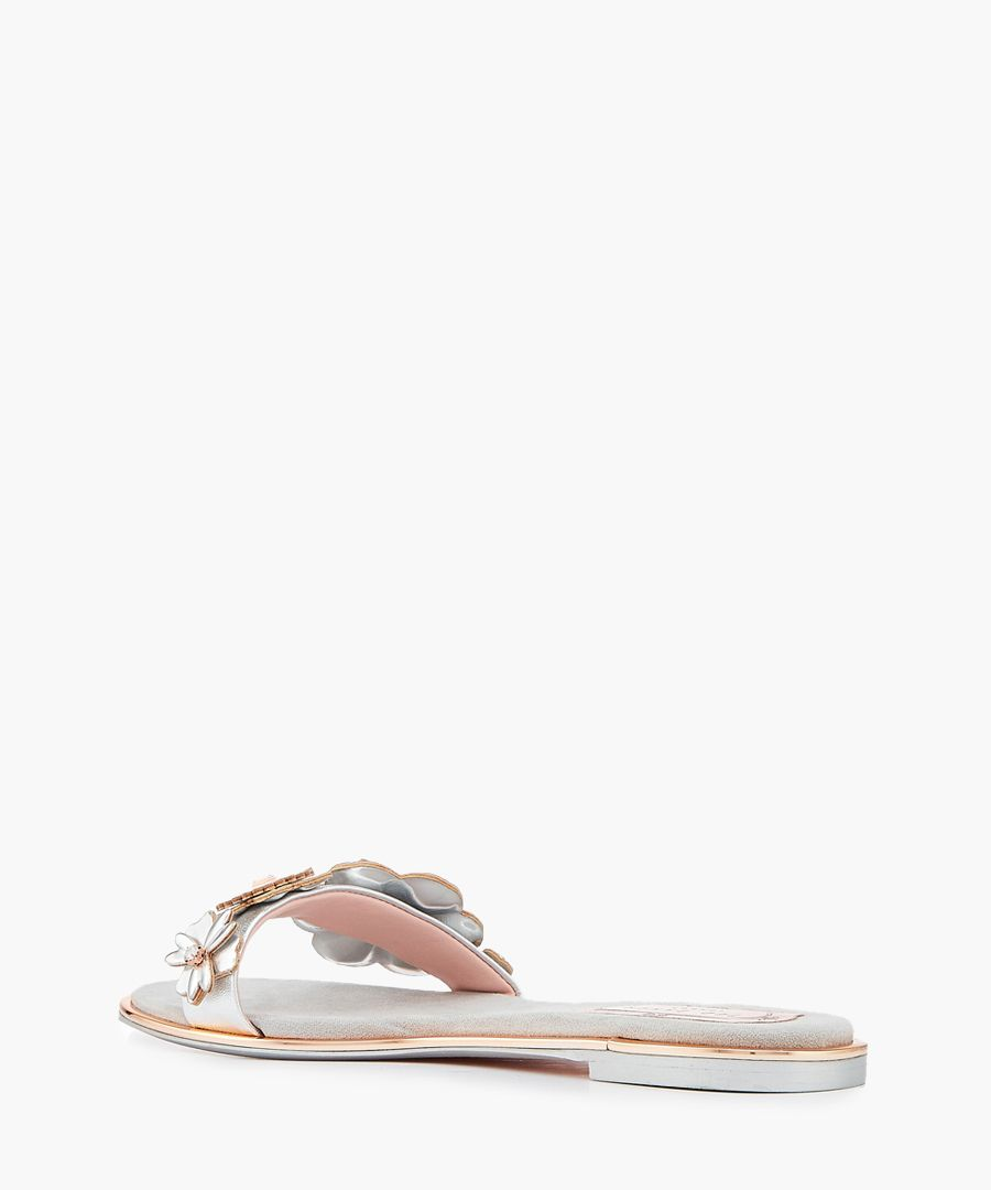 Silver & white leather slip ons