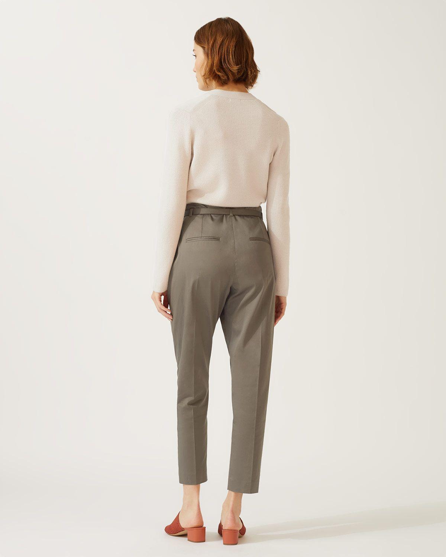 Cotton Belted Peg Leg Trouser