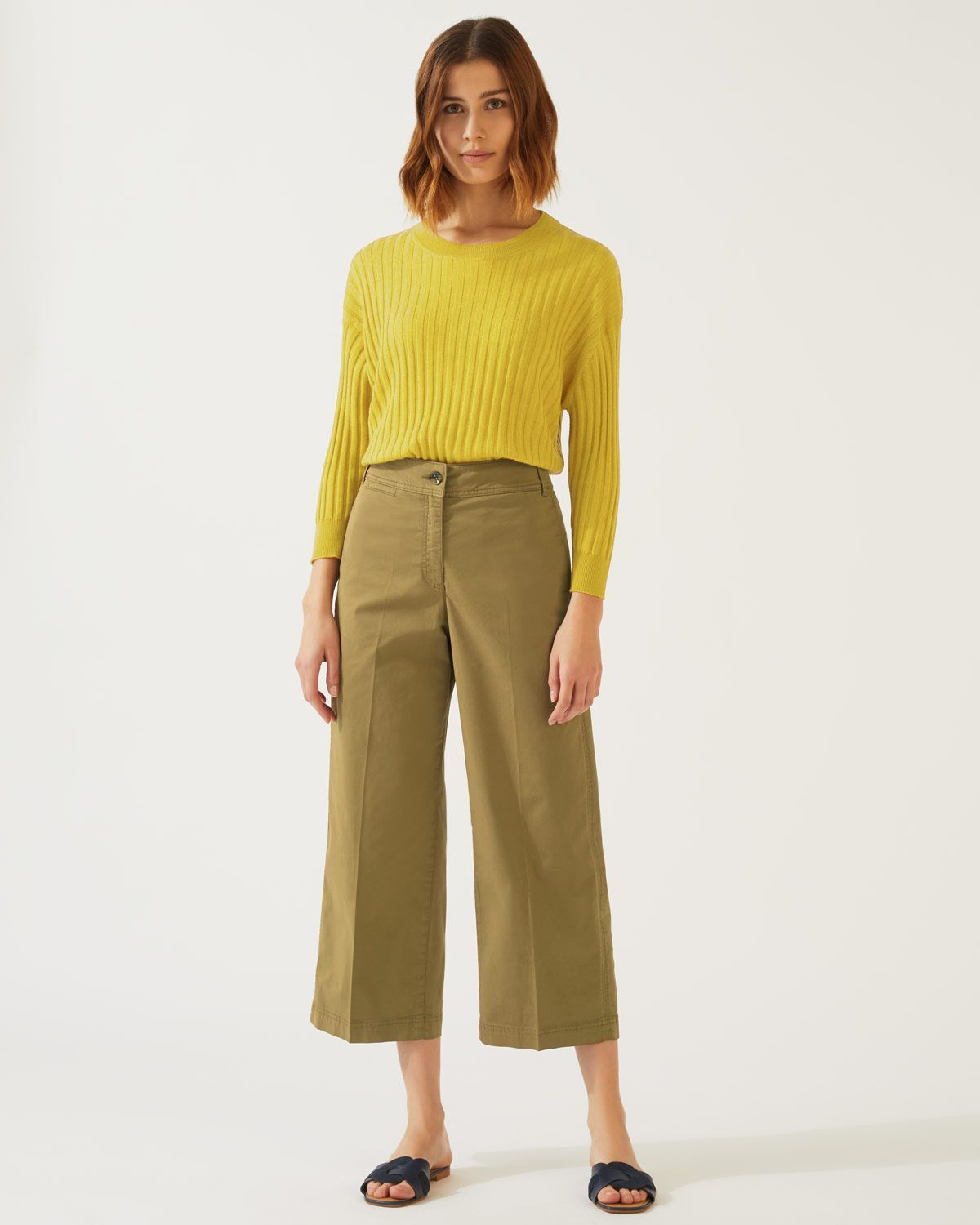 High Waist Wide Leg Chino