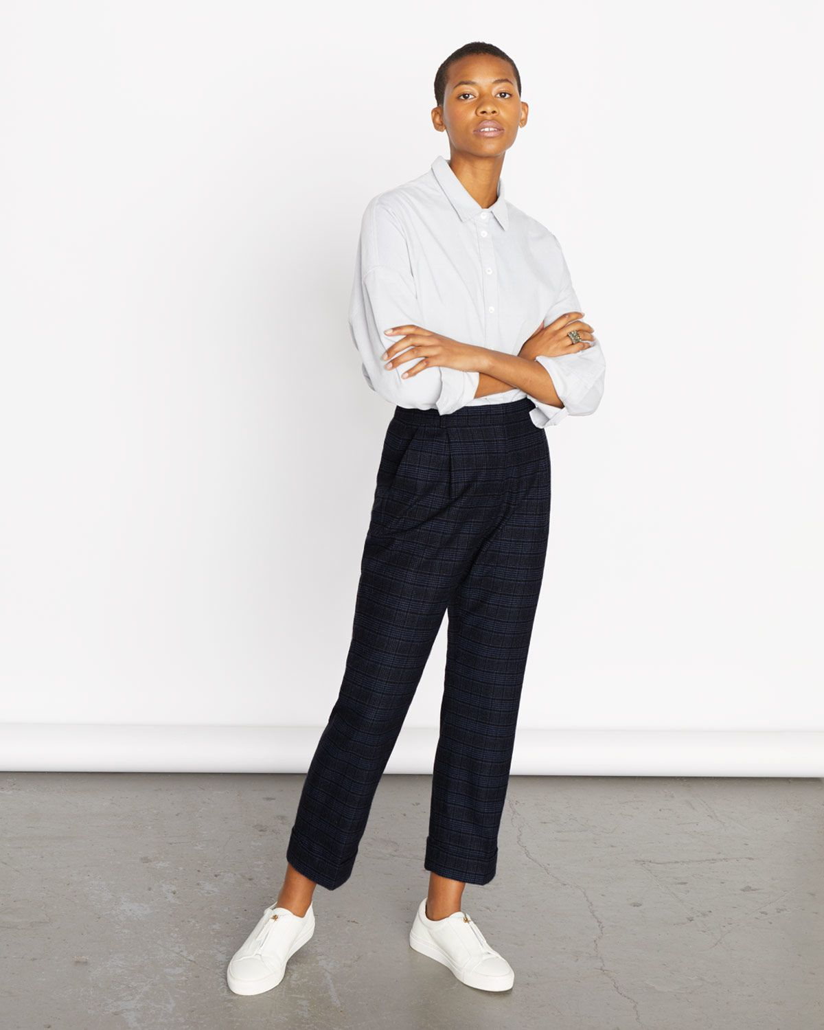 Pleat Check Turn Up Trouser