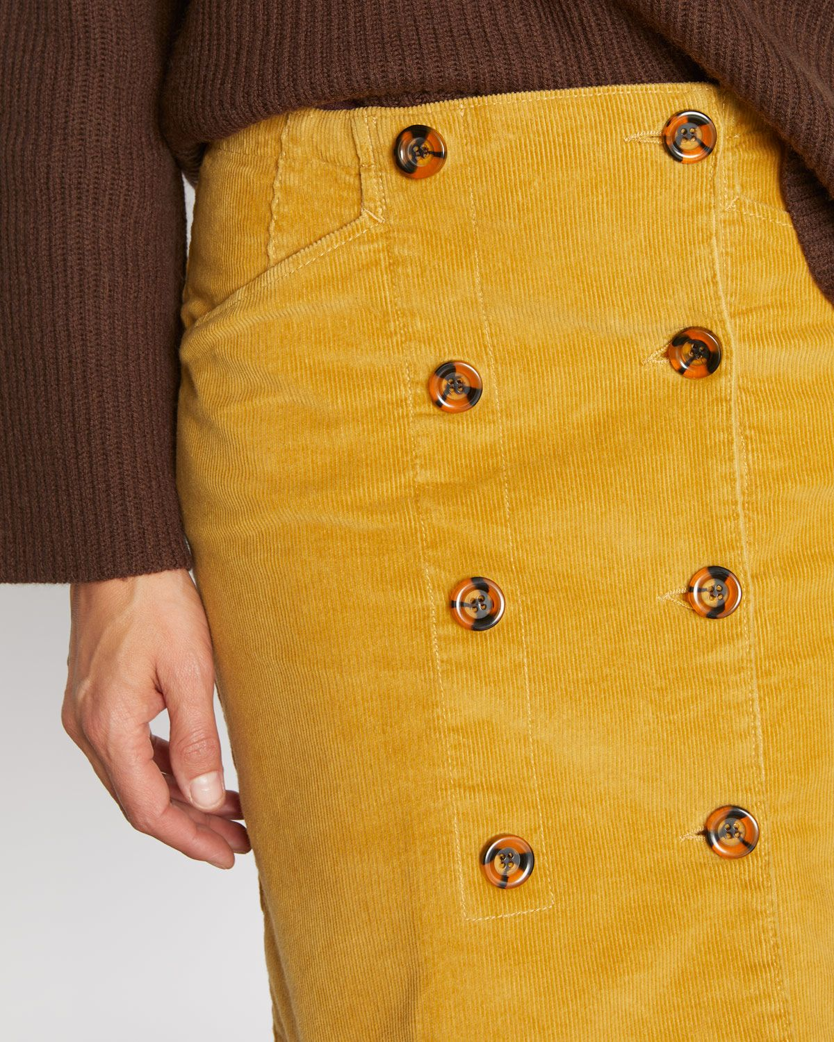 Cord Double Button Skirt