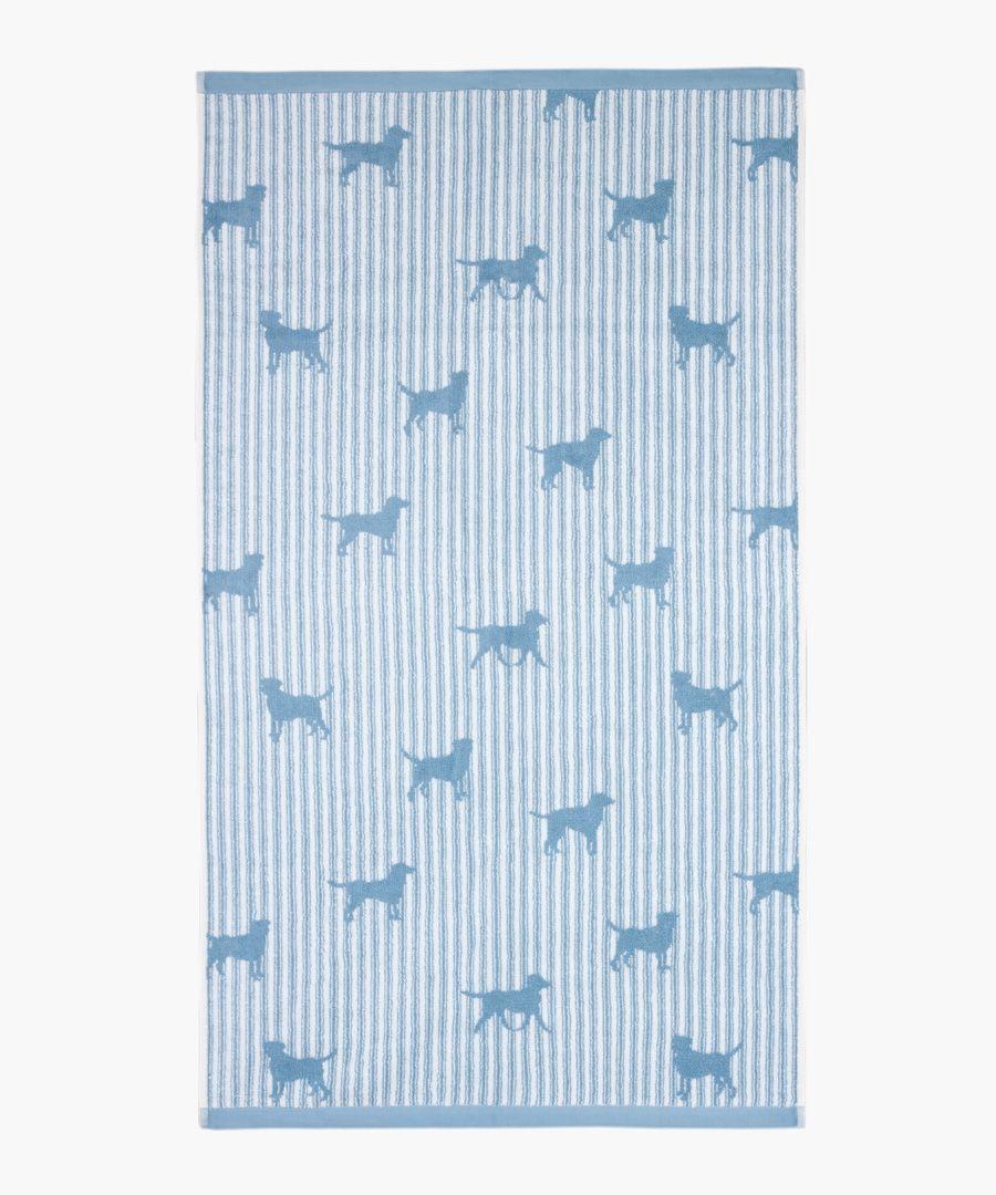Jacquard labrador blue bath towel