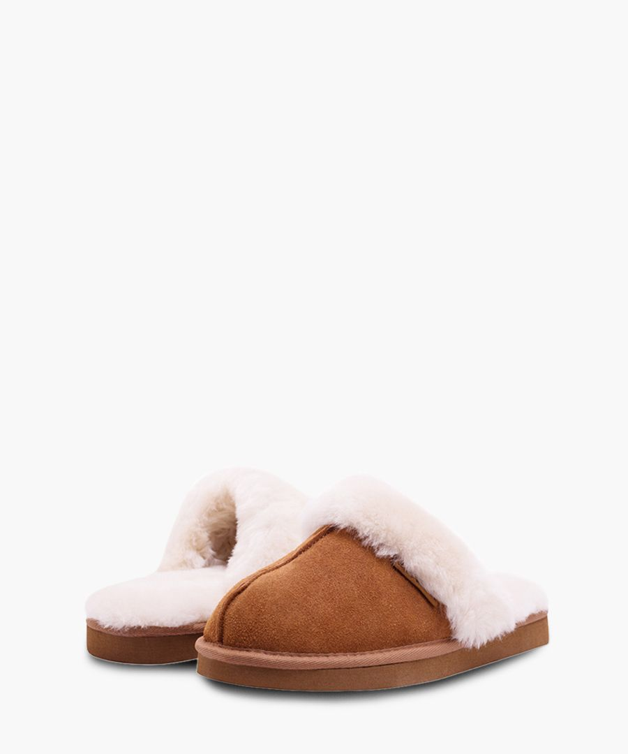 Tan suede sheepskin slippers