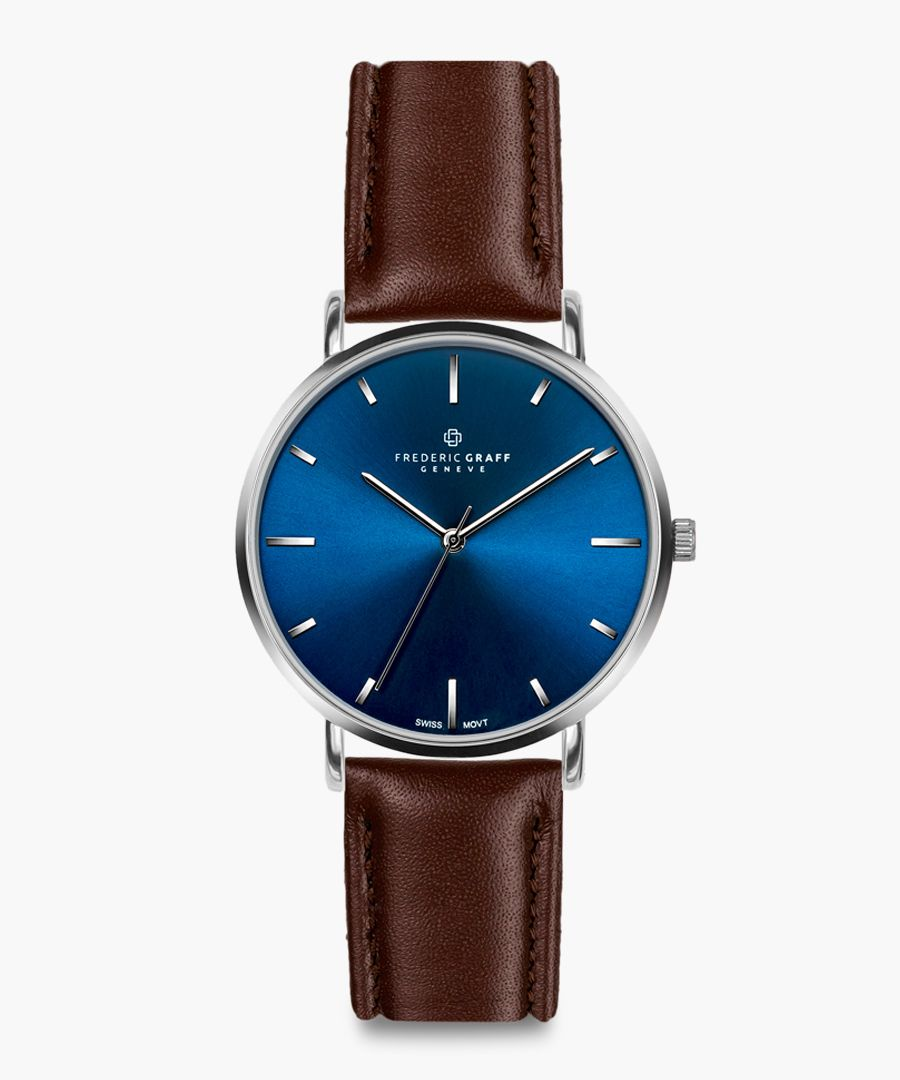 silver-tone & walnut leather watch