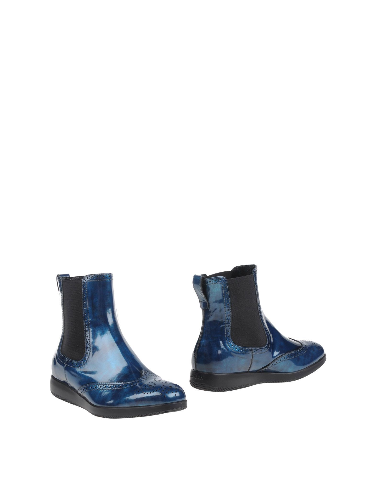 Hogan Blue Leather Ankle Boots