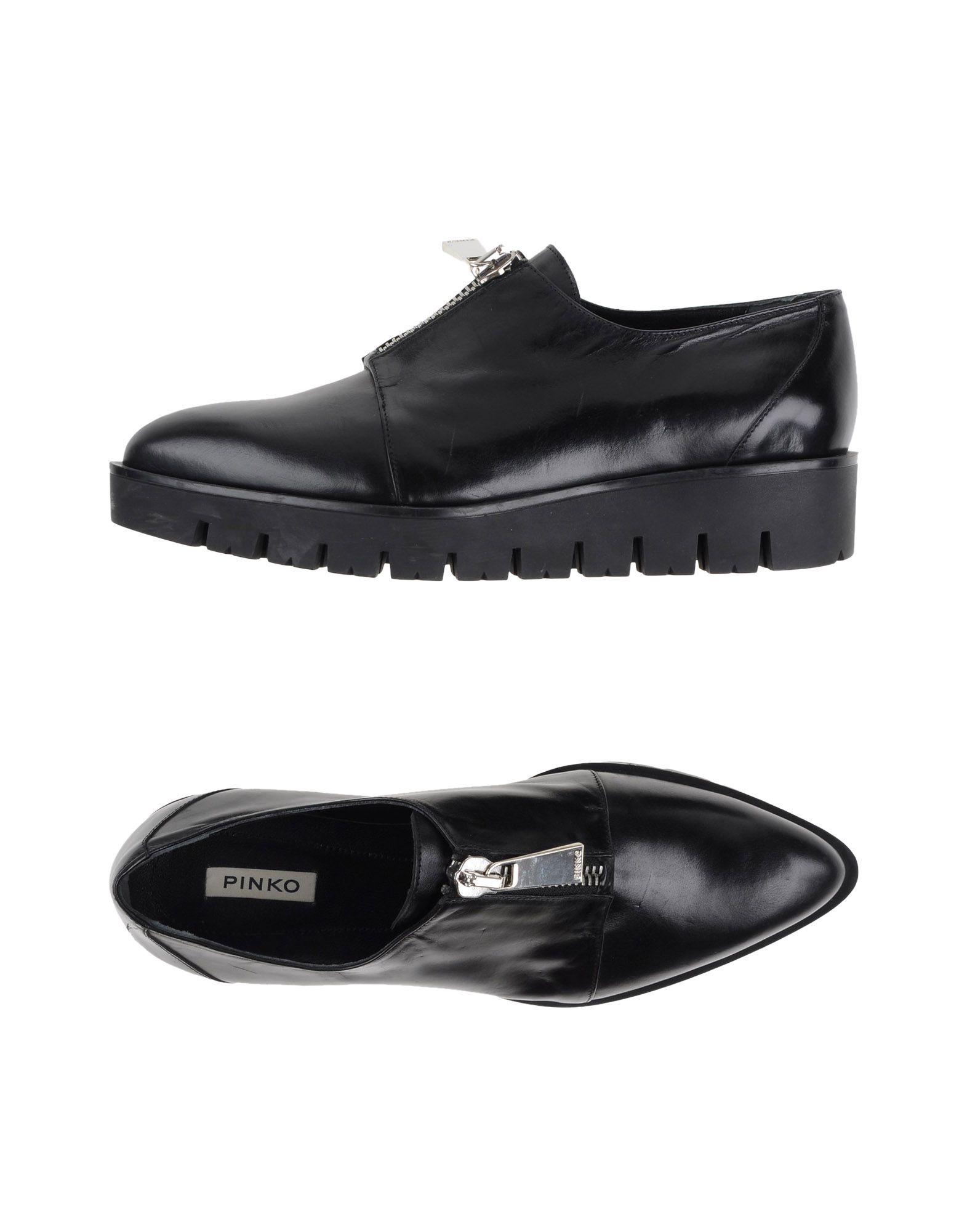 Pinko Black Calf Leather Lace Up Flat Shoes