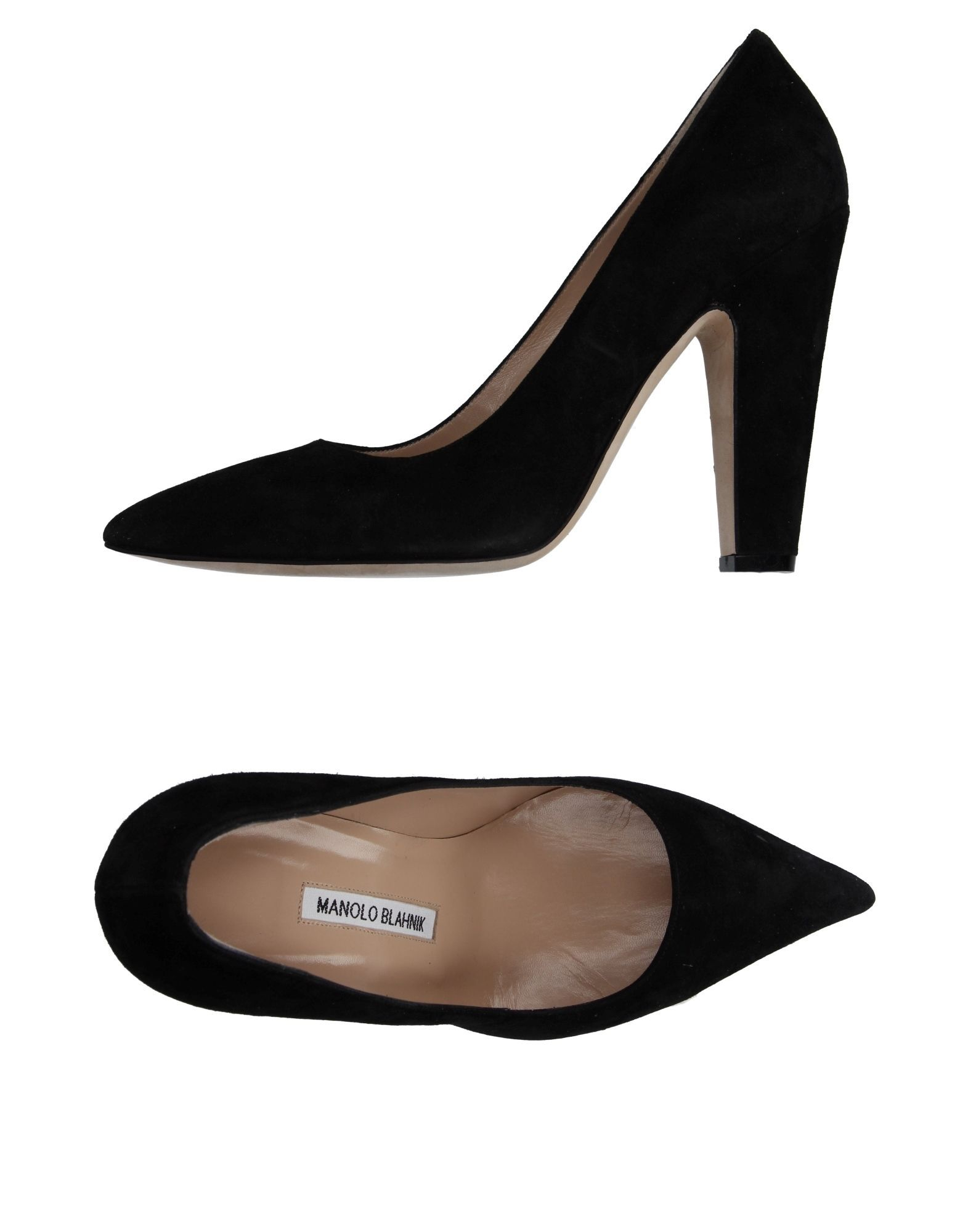 Manolo Blahnik Black Leather Pointed Court Shoes