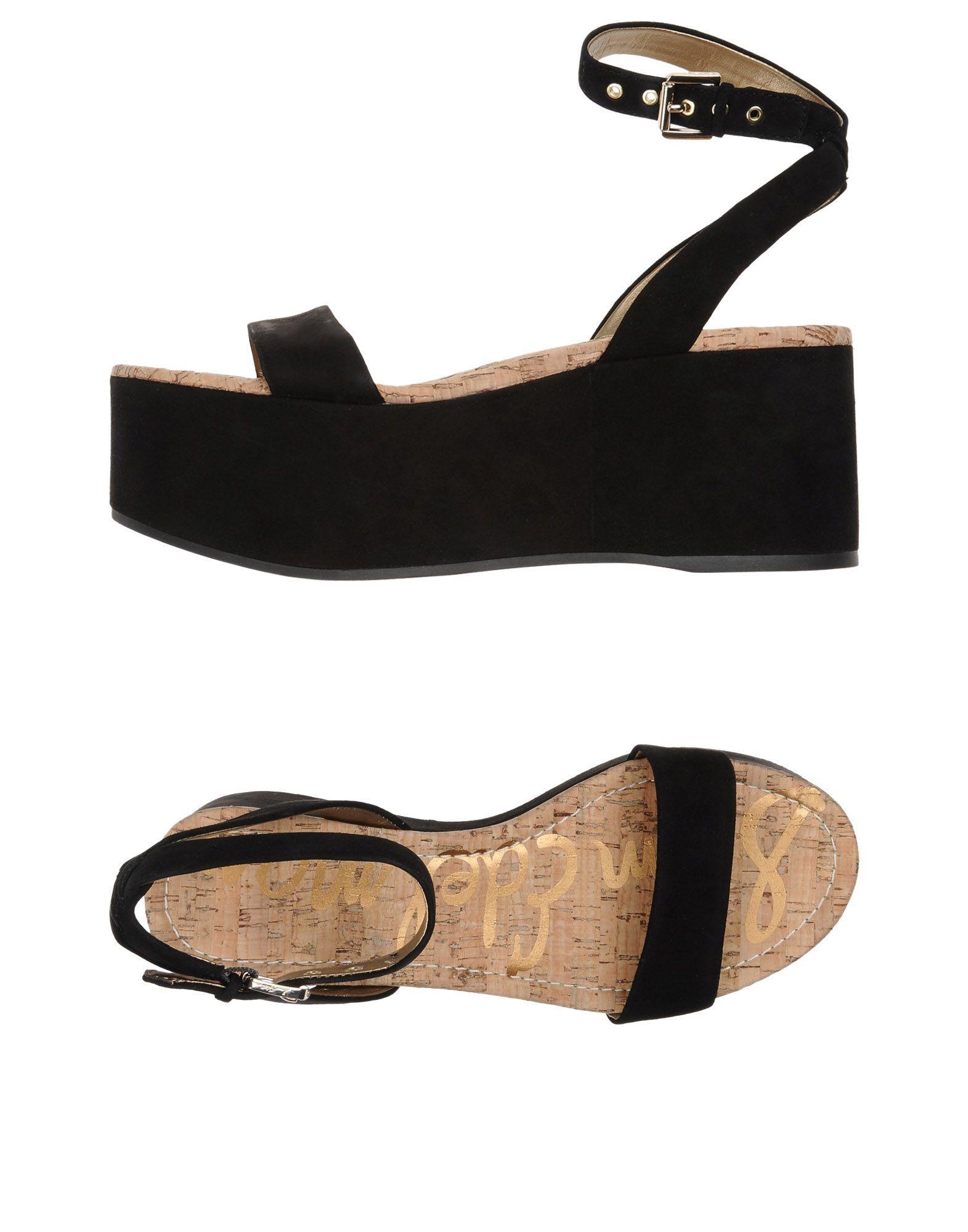 Sam Edelman Black Leather Flatform Sandals