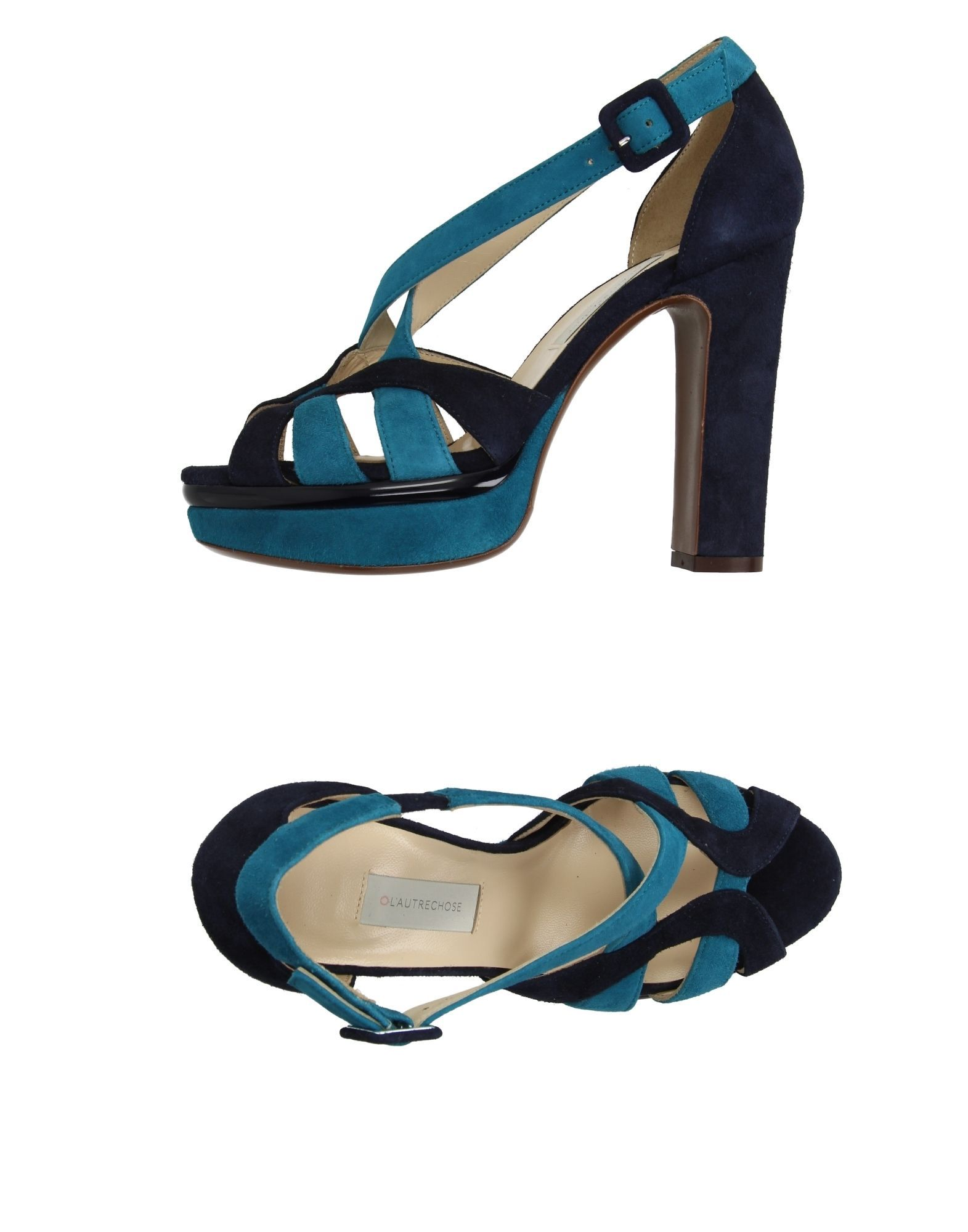 L' Autre Chose Deep Jade Leather Heeled Sandals
