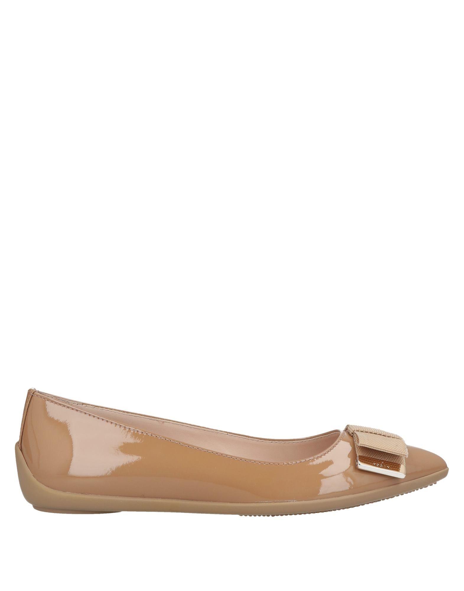 Hogan Camel Leather Ballet Flats