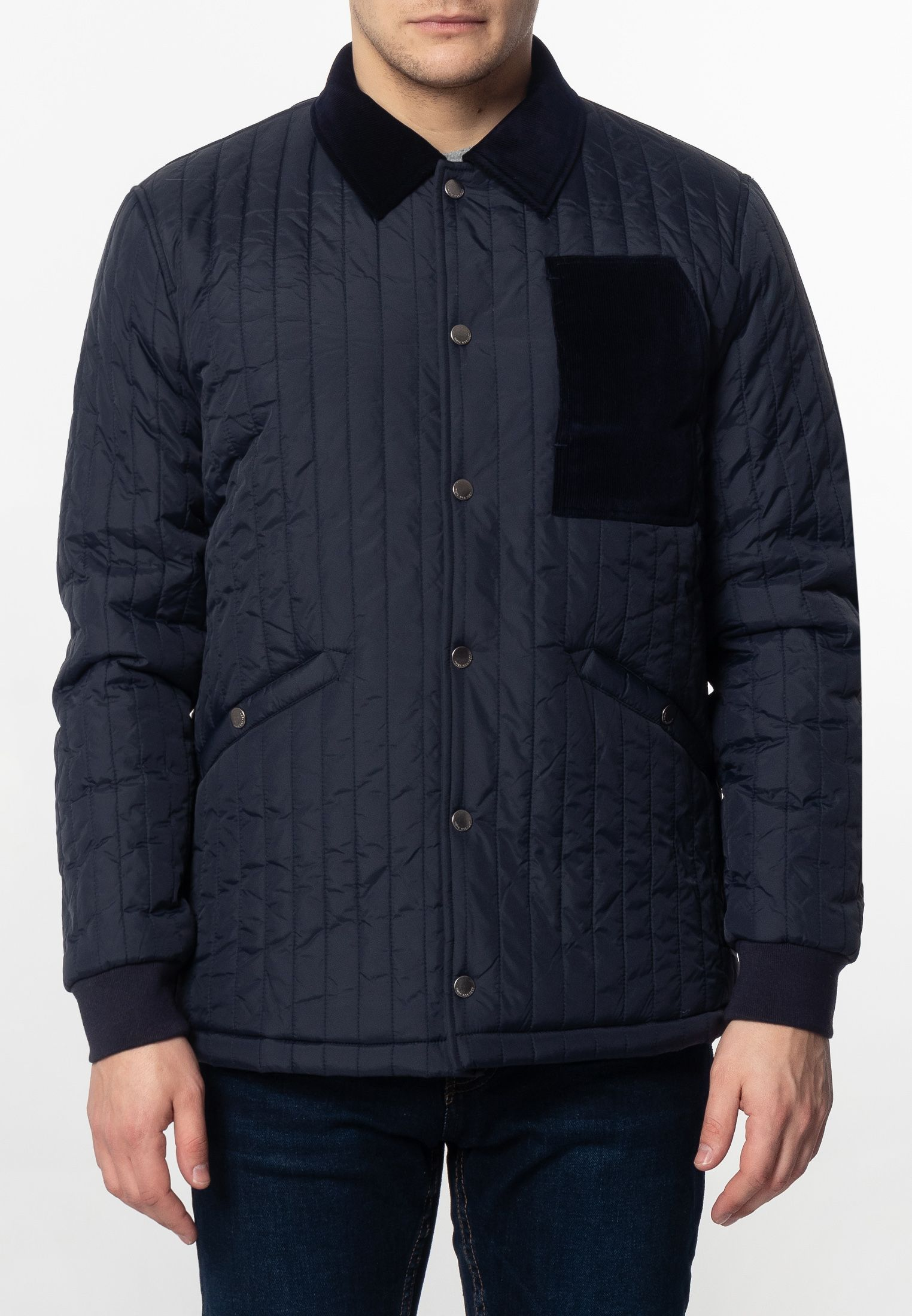 Charter Mens Quilted Coach Jacket With Corduroy Details In Navy