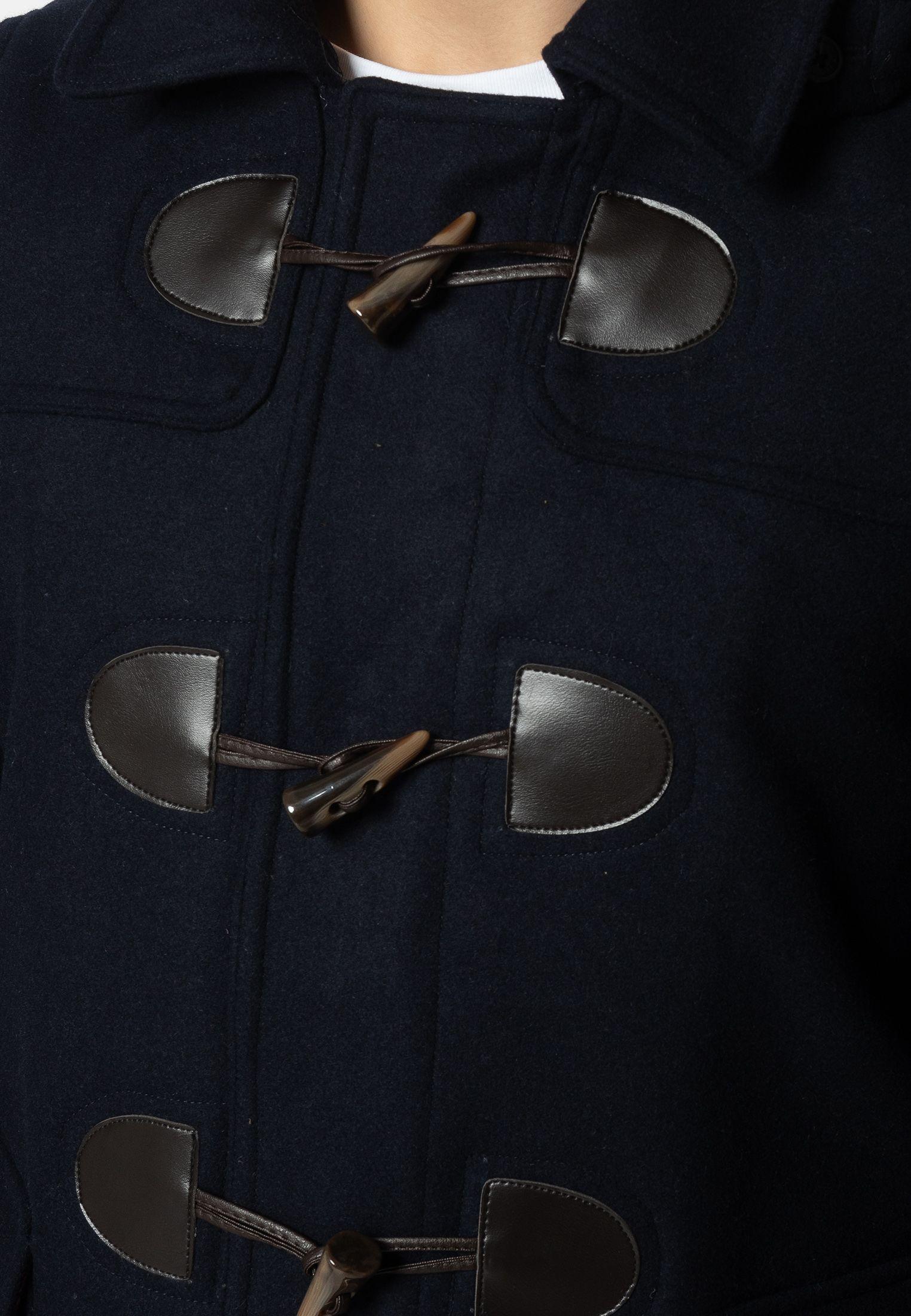 Bonner Mens Short Duffle Coat With Detachable Hood In Dark Blue