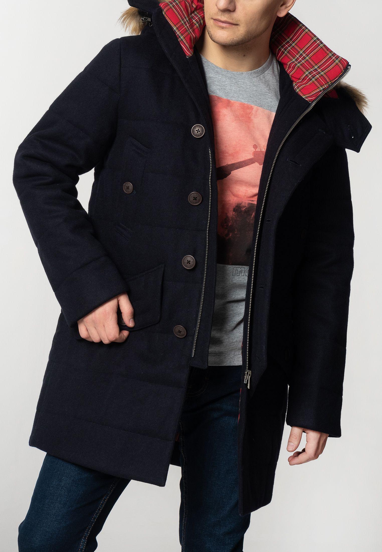 Raleigh Mens Padded Wool Parka With Fur Hood In Dark Navy
