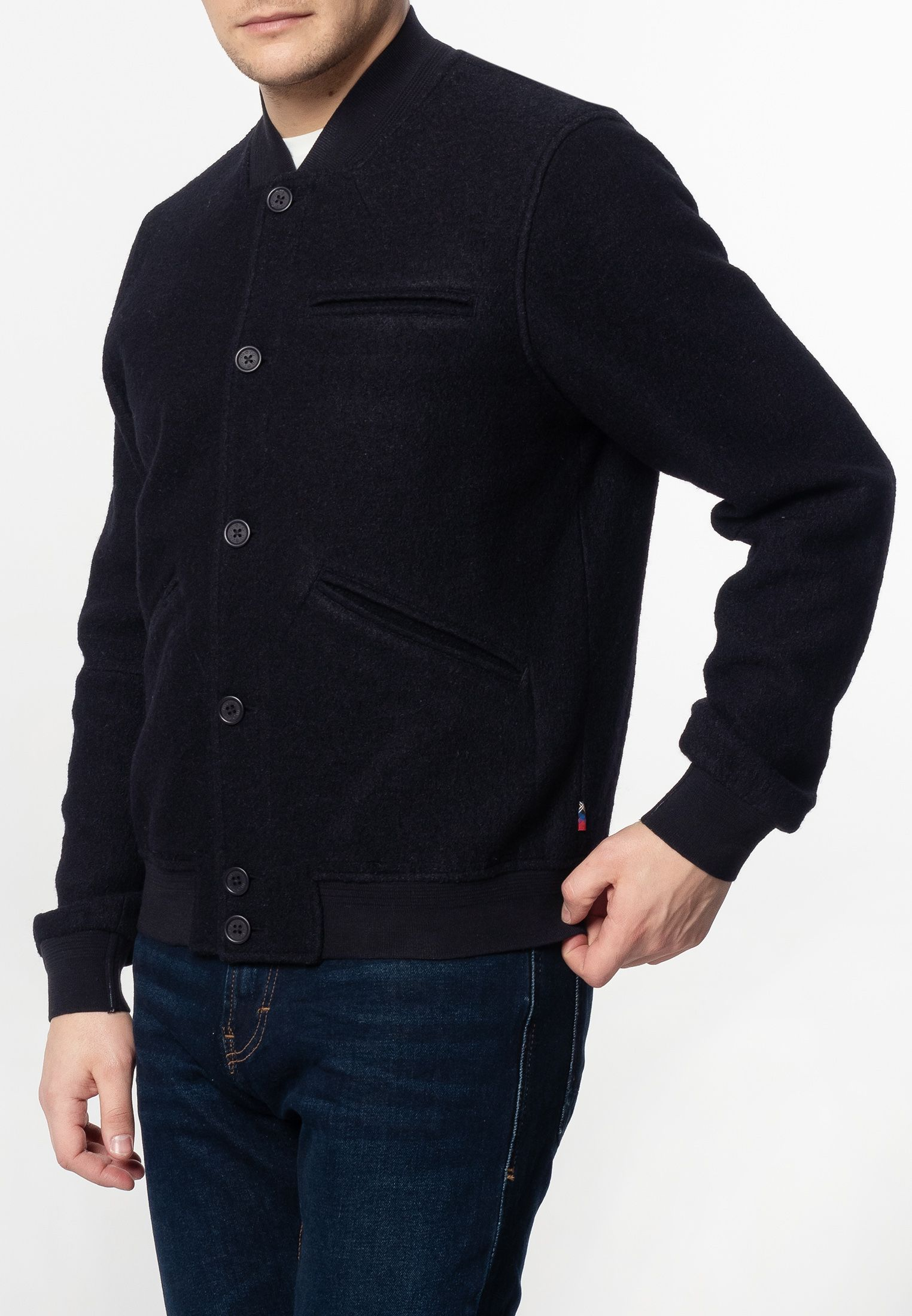 Sherlock Mens Wool Bomber Jacket With Ribbed Hem And Cuffs In Dark Navy