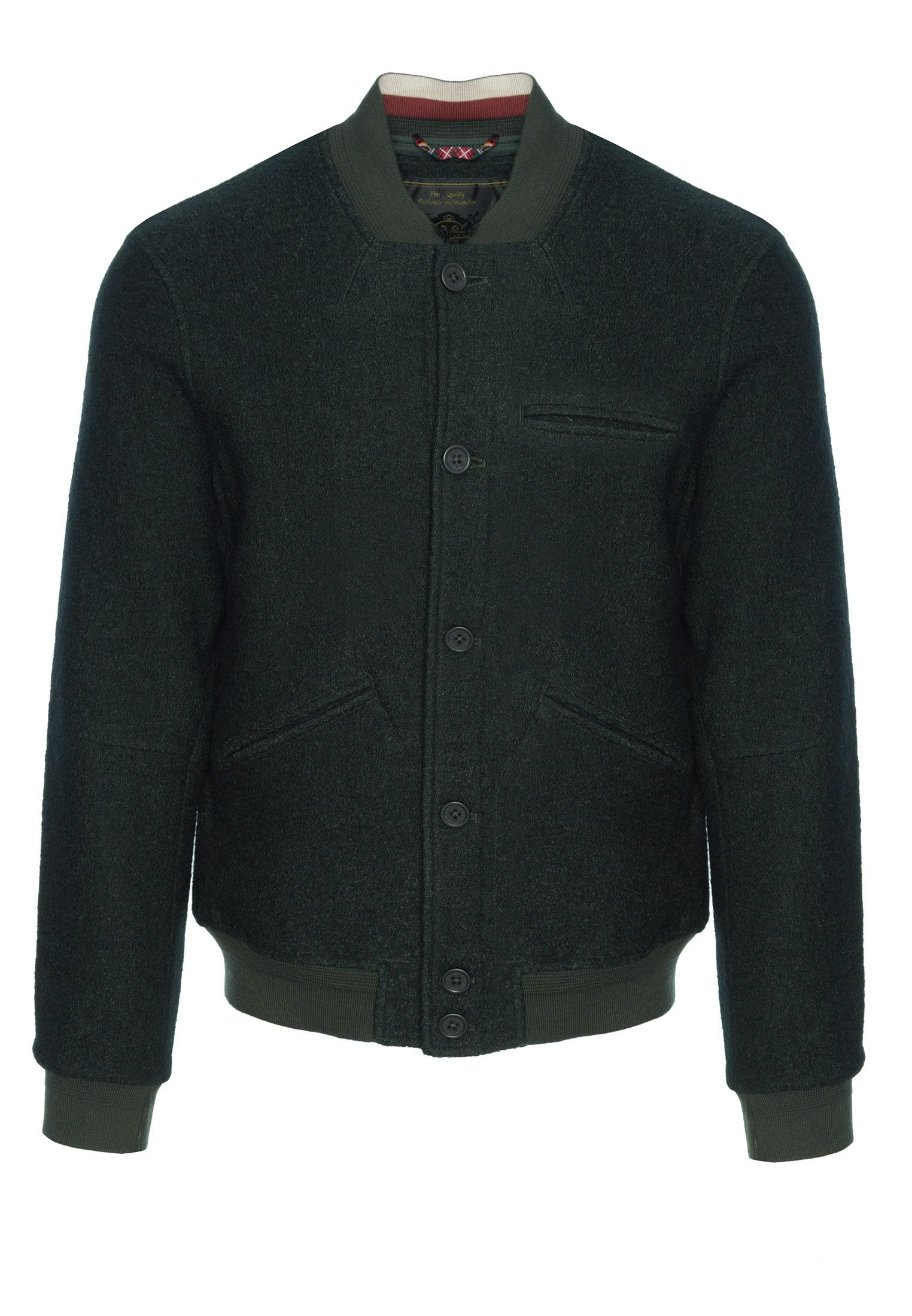 Sherlock Mens Wool Bomber Jacket With Ribbed Hem And Cuffs In Bottle Green