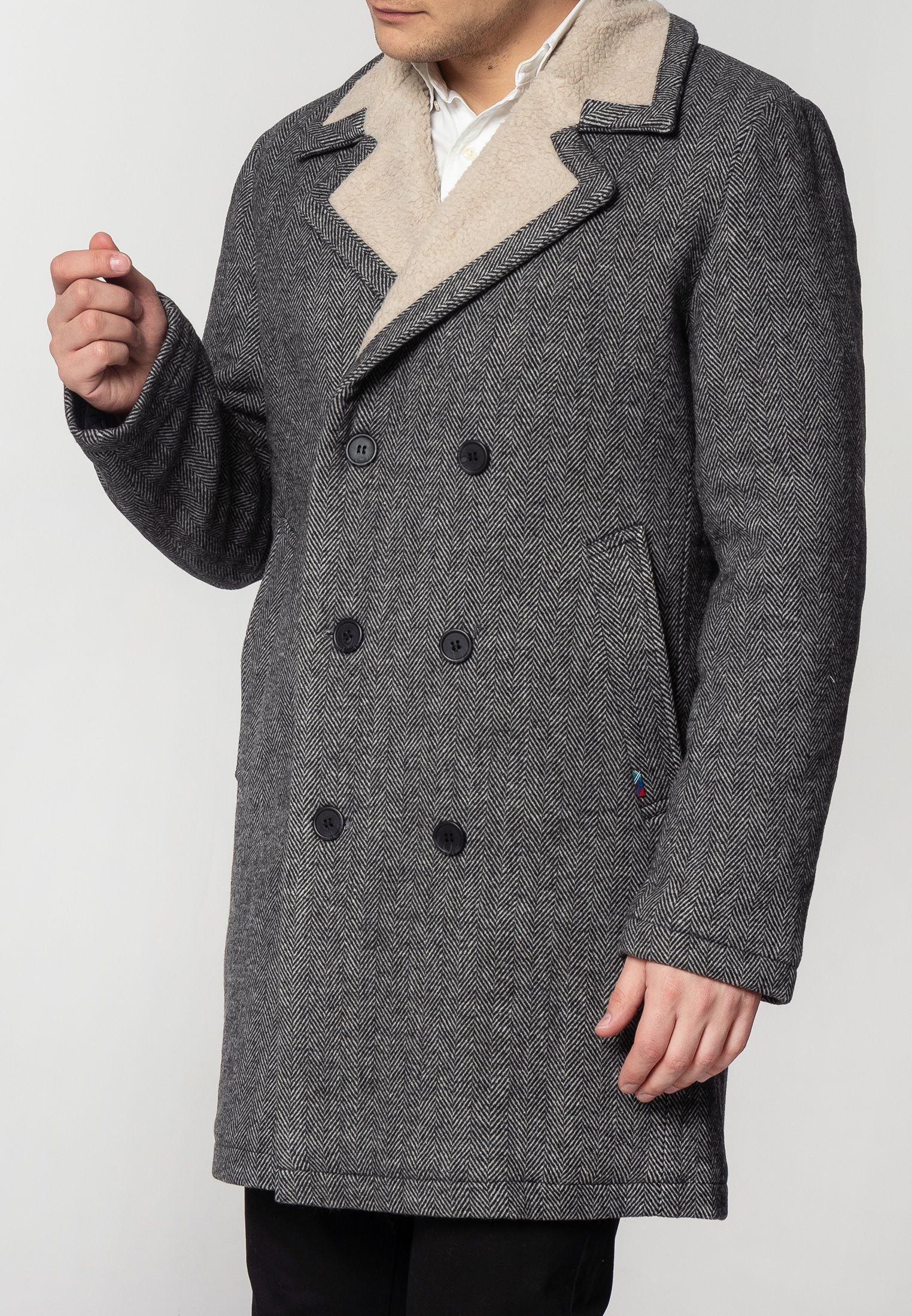 Fraser Mens Tweed Overcoat With Borg Lining In Dark Grey