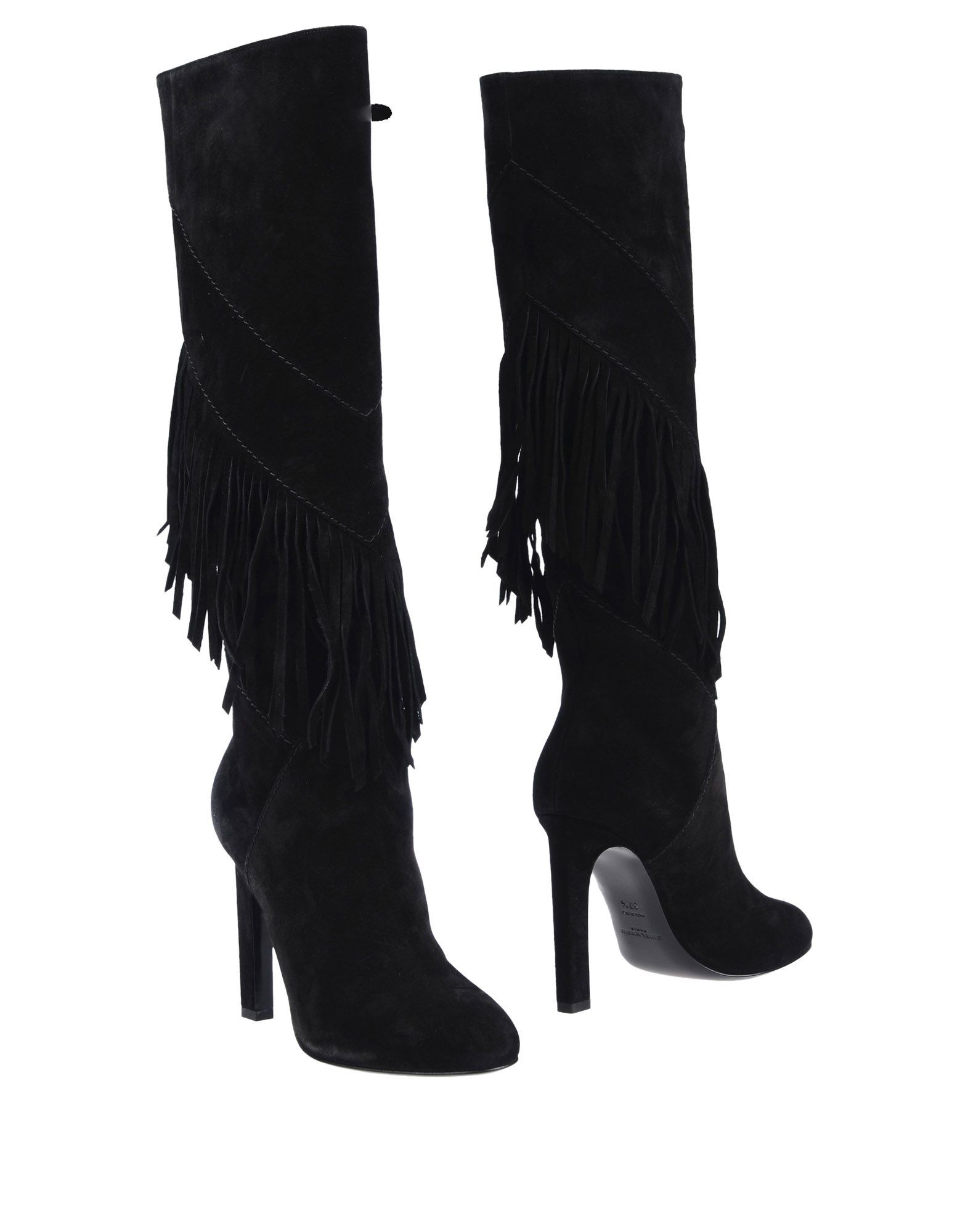 Saint Laurent Black Leather Fringed Knee High Boots