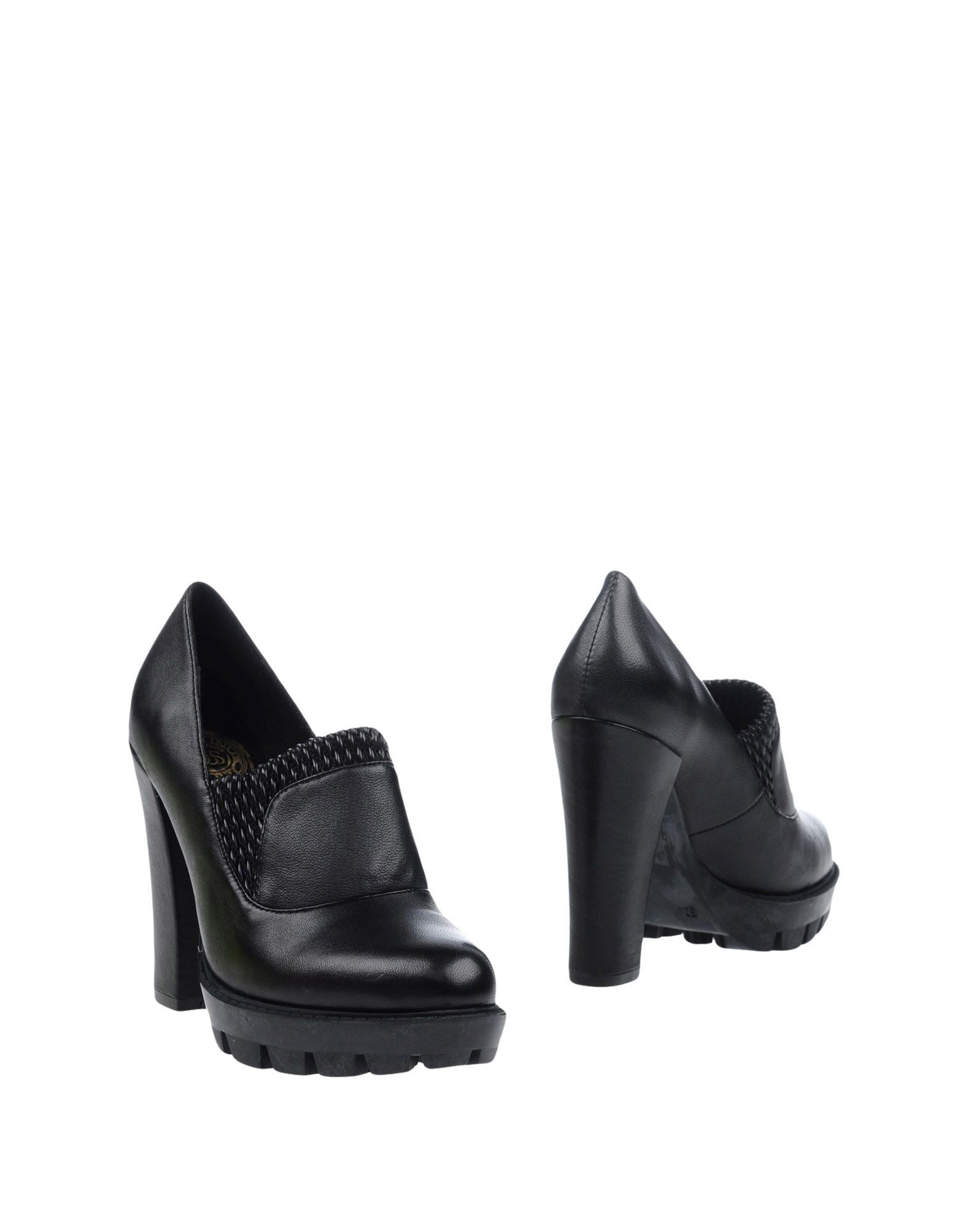 Scervino Street Black Leather Heeled Loafers