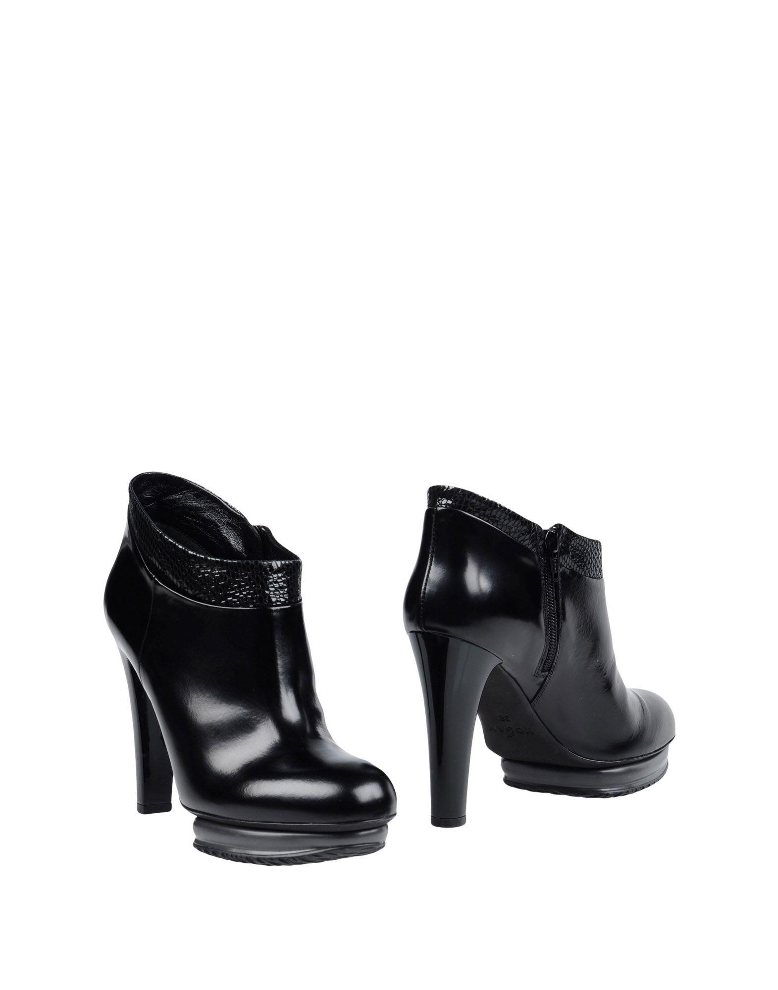 Hogan Black Leather Heeled Ankle Boots