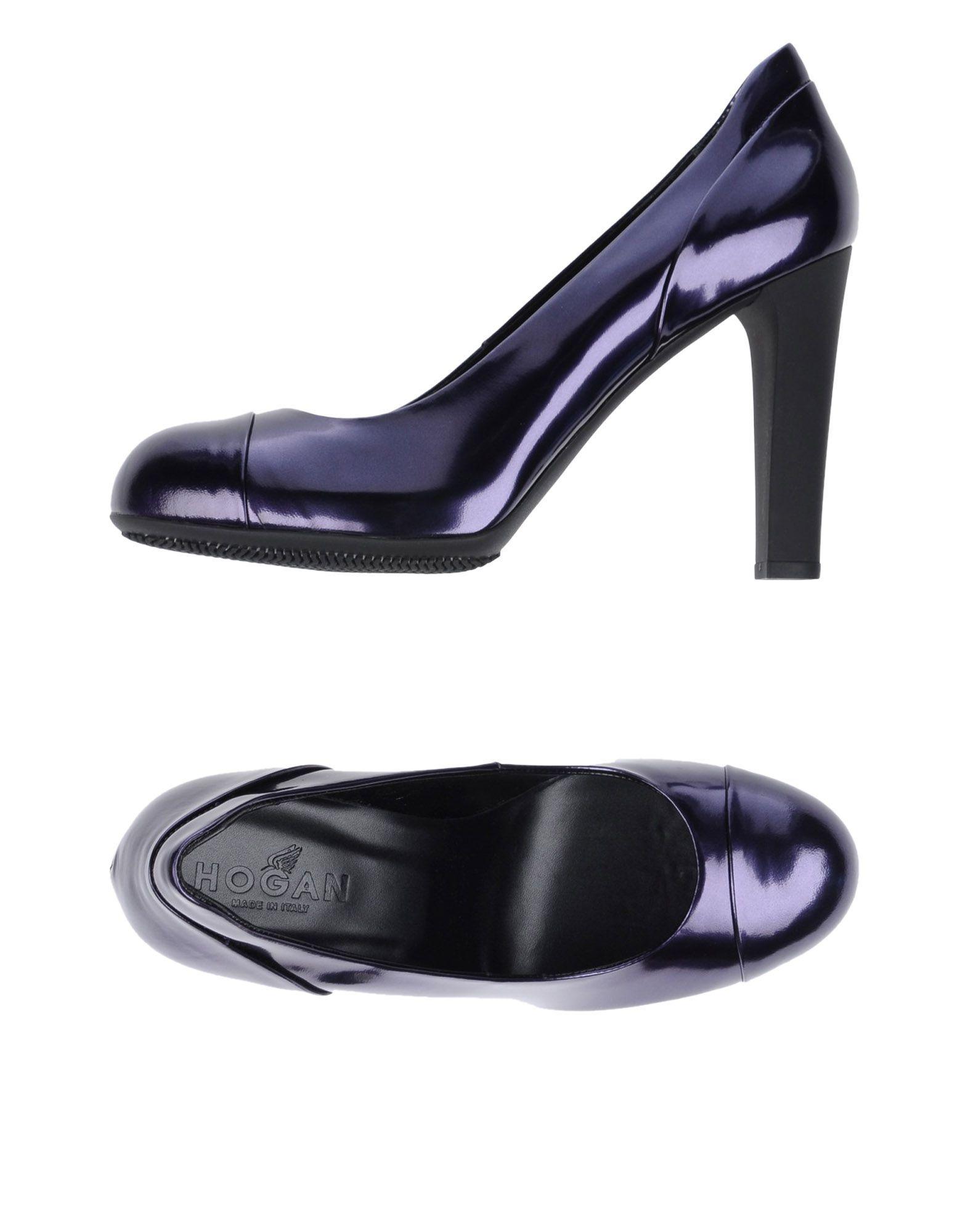 Hogan Purple Leather Court Shoe Heels