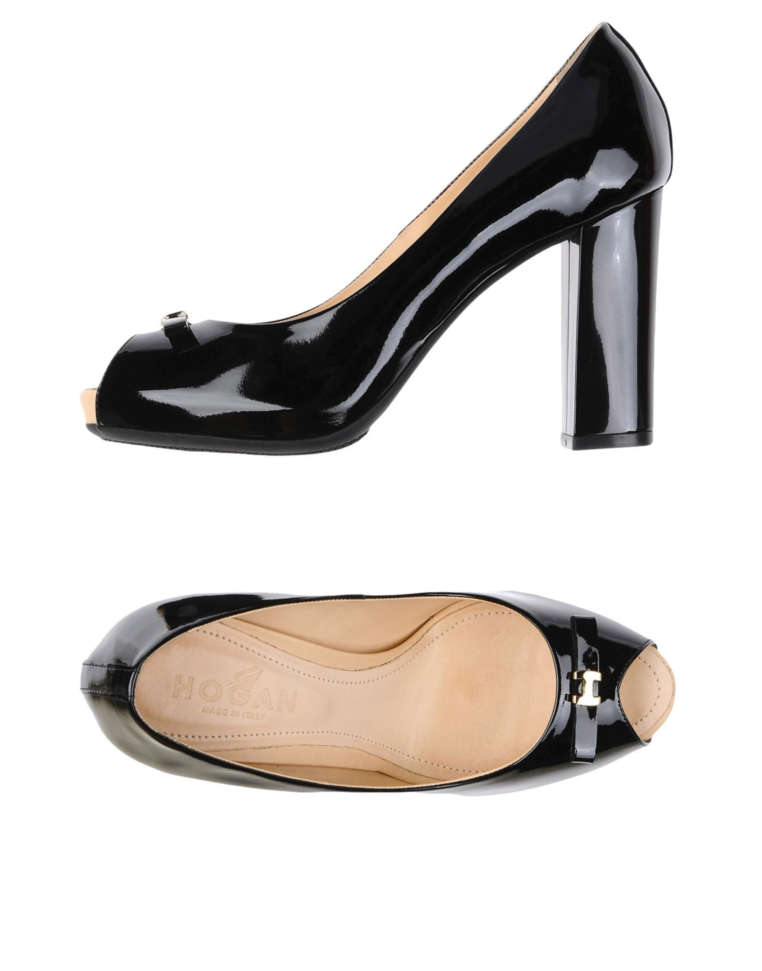 Hogan Black Leather Peeptoe Heels