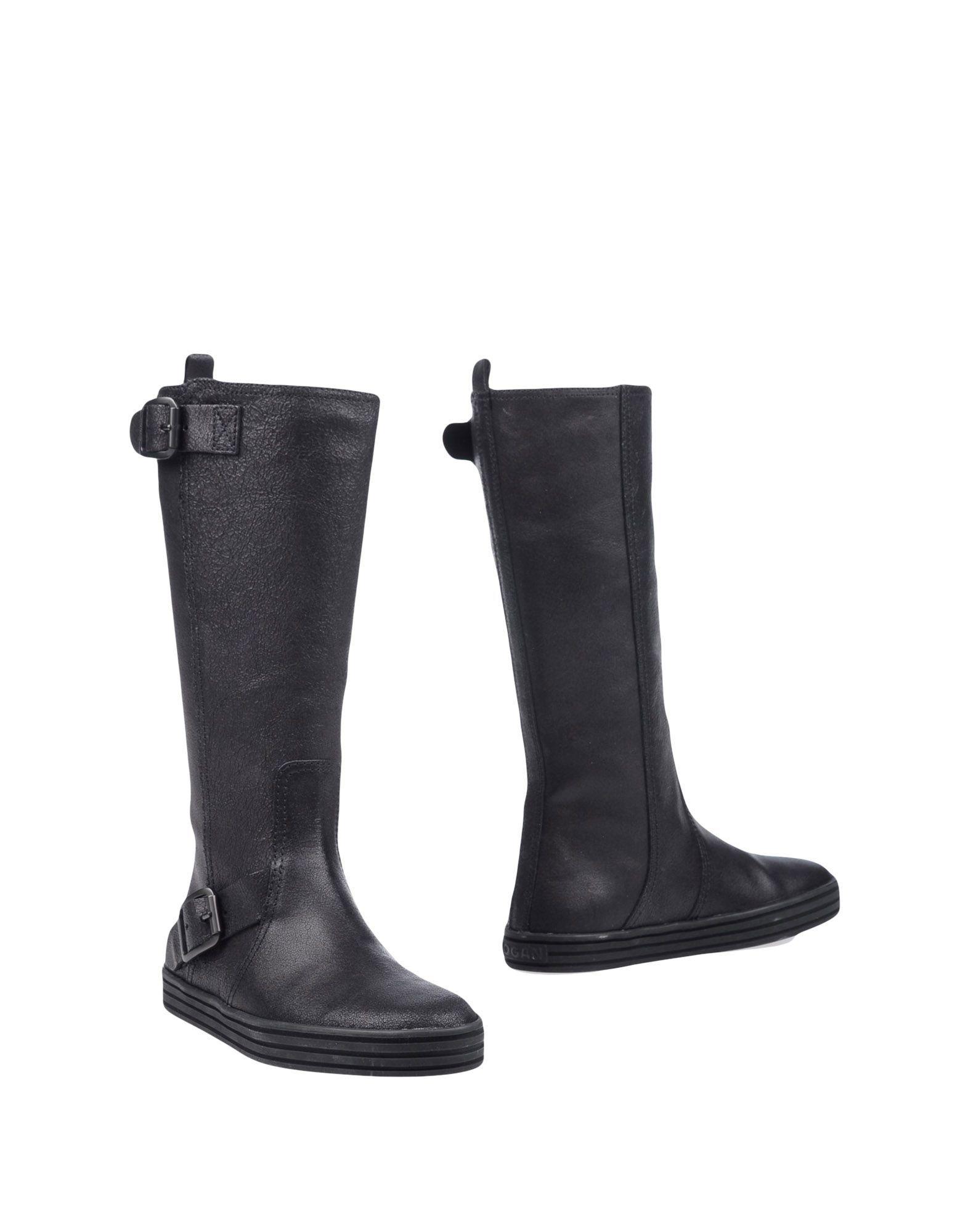 Hogan Rebel Black Leather Boots