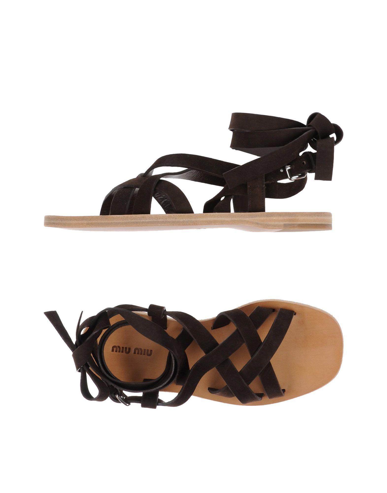 Miu Miu Dark Brown Leather Sandals