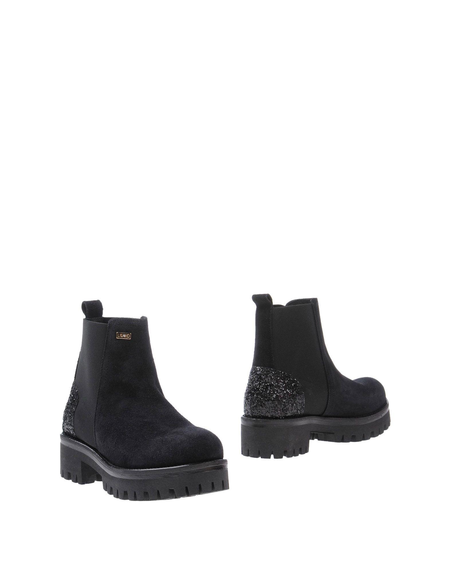 Liu Jo Black Leather Flat Ankle Boots