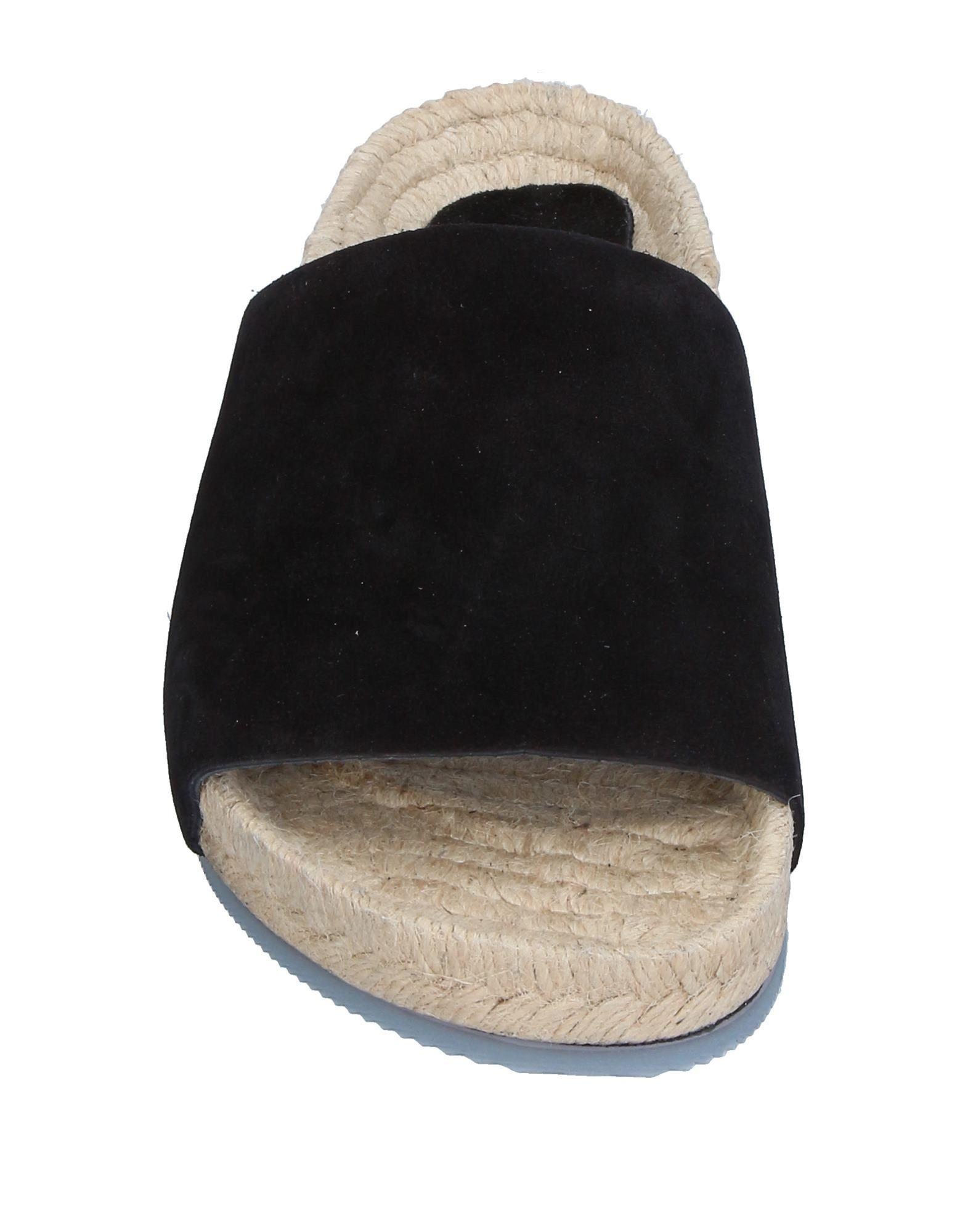 Jeffrey Campbell Black Leather Espadrilles Sliders