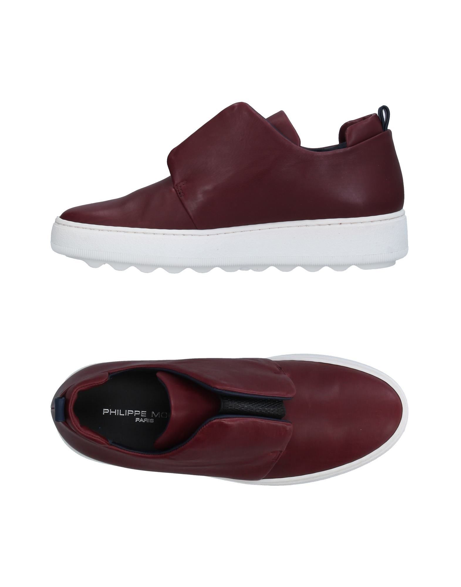 Philippe Model Maroon Calf Leather Sneakers