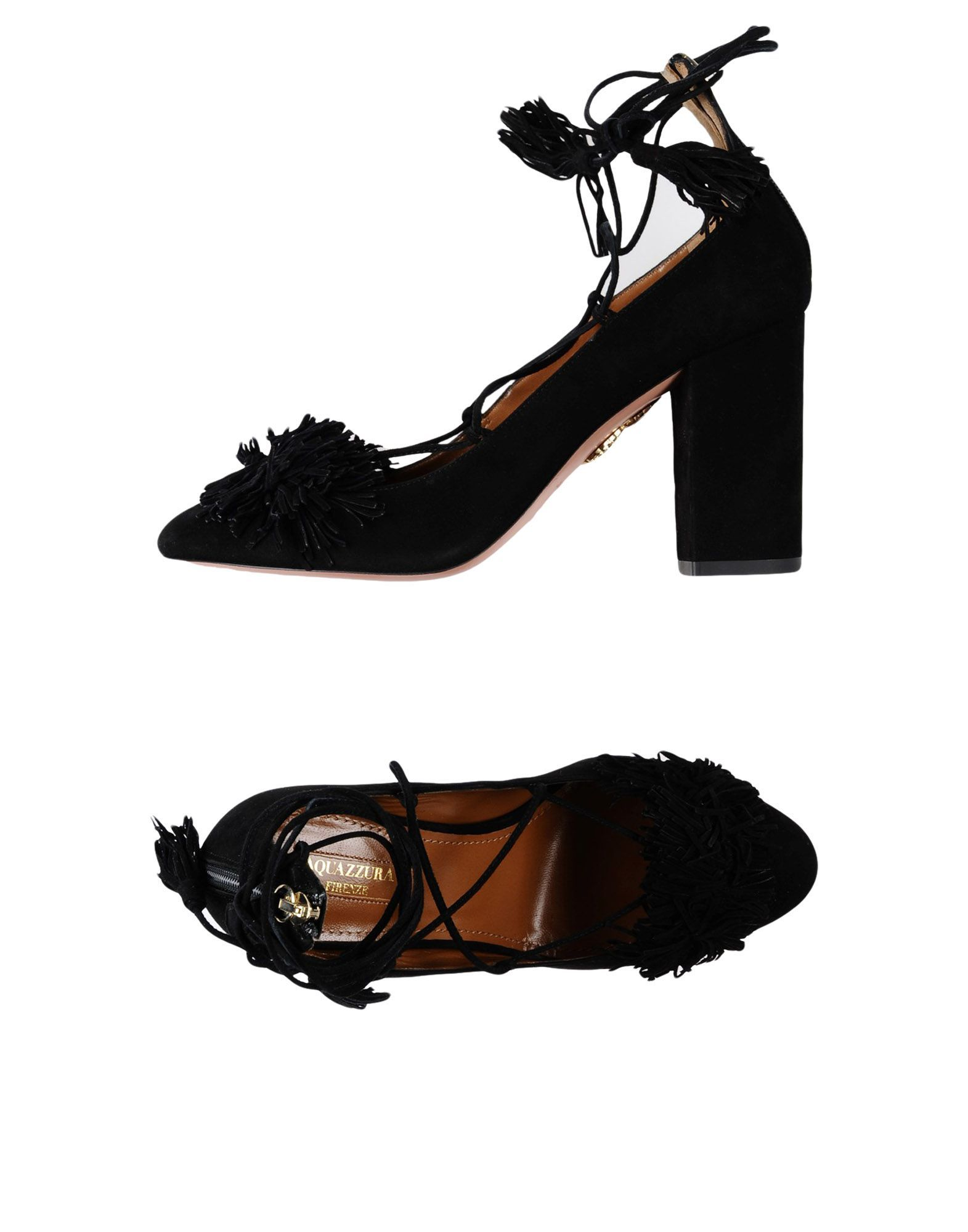 Aquazzura Black Leather Heels With Tassels